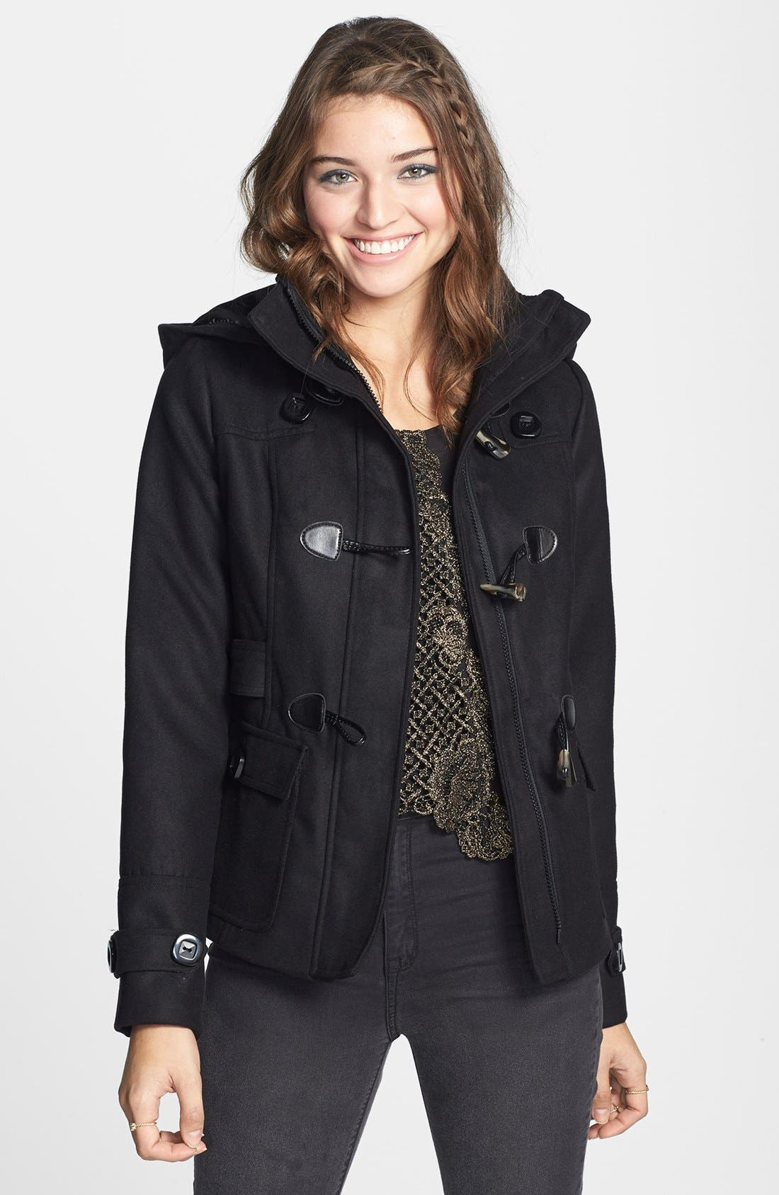 Alternate Image 1 Selected - Pink Envelope Detachable Hood Toggle Front Coat (Juniors) (Online Only)