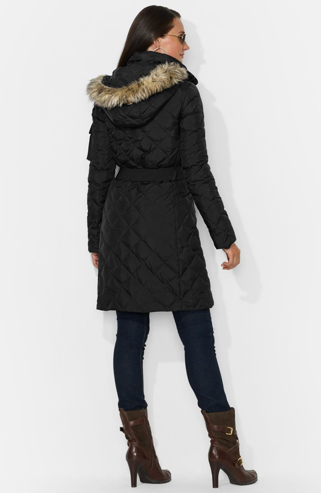 Alternate Image 2  - Lauren Ralph Lauren Faux Fur Trim Belted Down Coat