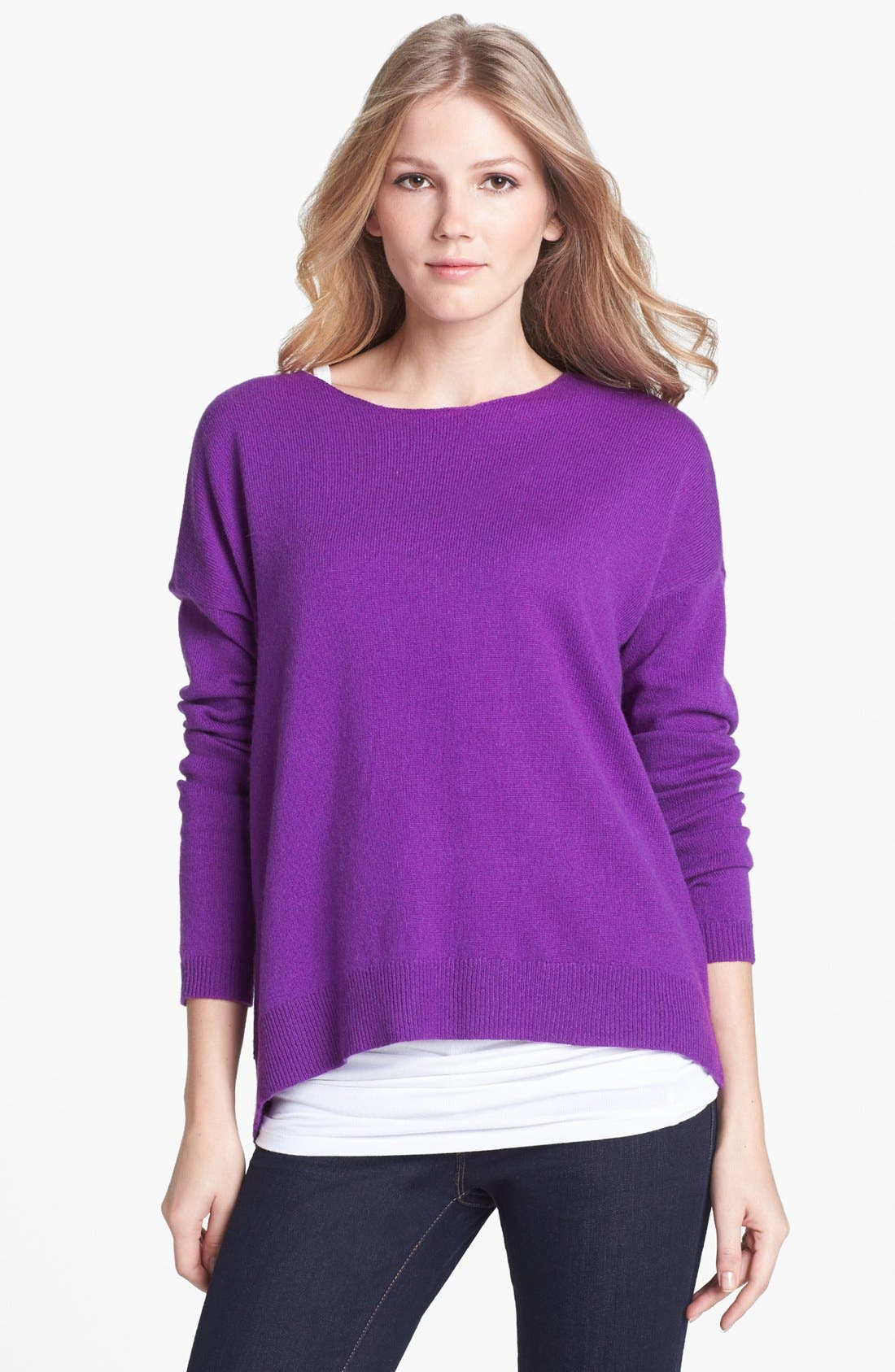 Main Image - Halogen® Wool & Cashmere Back Zip Sweater (Petite)
