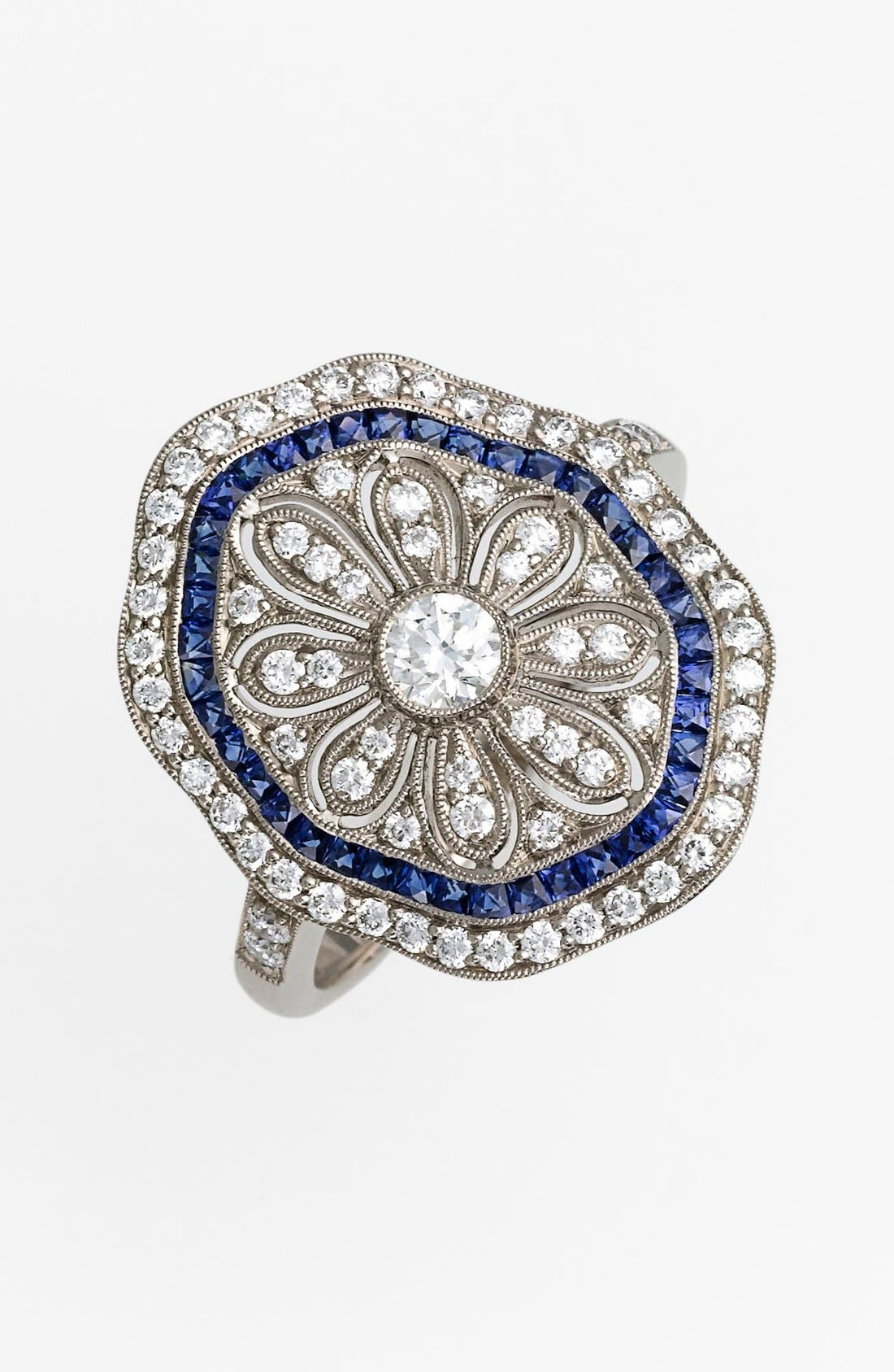 Alternate Image 1 Selected - Kwiat 'Vintage' Diamond & Blue Sapphire Octagon Ring