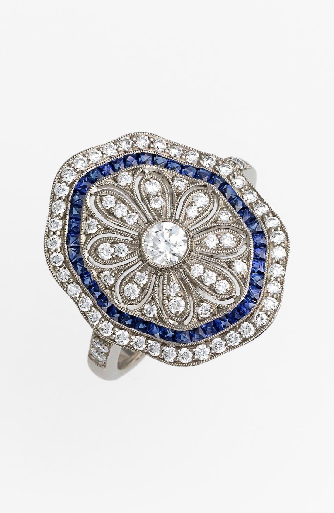 Main Image - Kwiat 'Vintage' Diamond & Blue Sapphire Octagon Ring