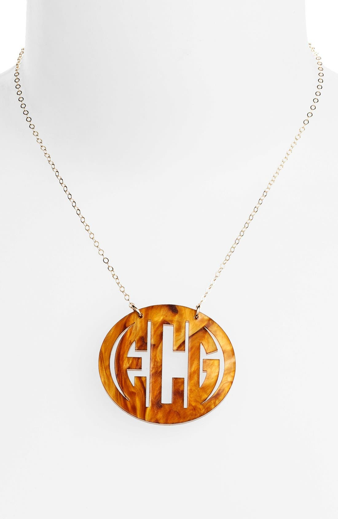 MOON AND LOLA Large Oval Personalized Monogram Pendant Necklace (Nordstrom Exclusive) in Tigers Eye/ Gold
