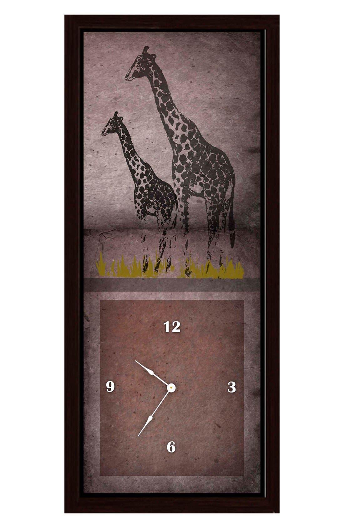 Alternate Image 1 Selected - Green Leaf Art 'Giraffes on Red' Clock