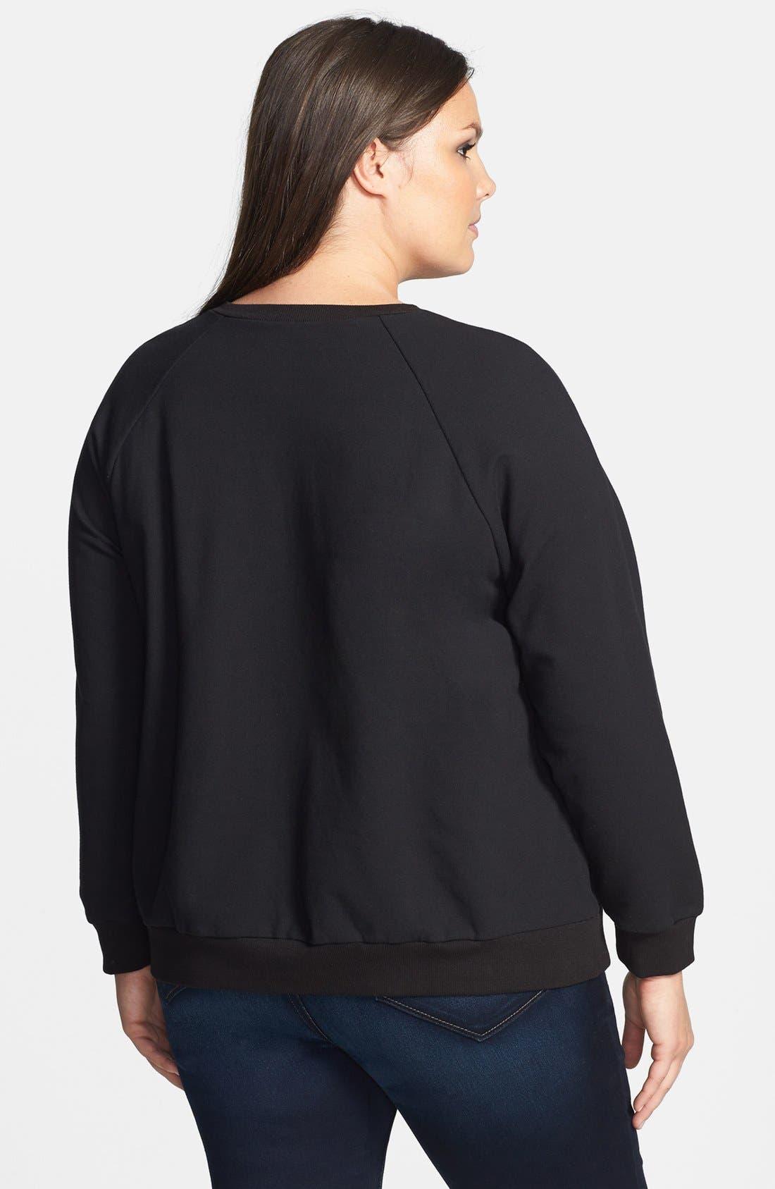Alternate Image 2  - Halogen® Embossed Sweatshirt (Plus Size)