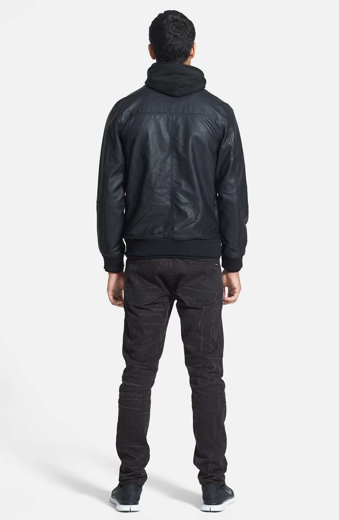Alternate Image 4  - Obey 'Rapture' Hooded Faux Leather Bomber Jacket