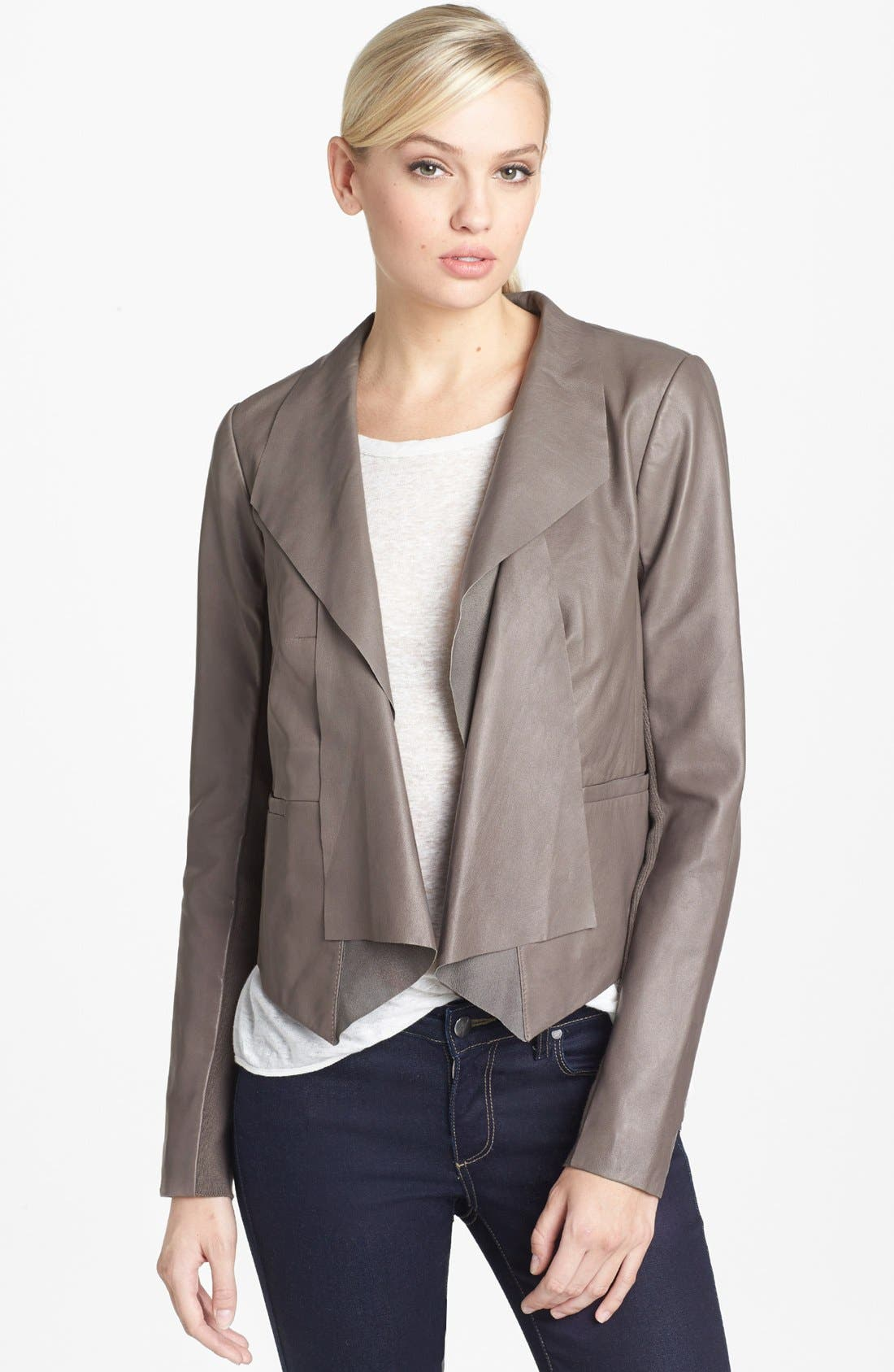 Main Image - Trouvé Draped Leather Jacket