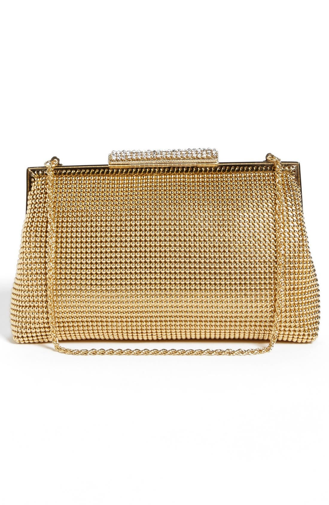 Crystal Frame Clutch,                             Alternate thumbnail 3, color,                             Gold