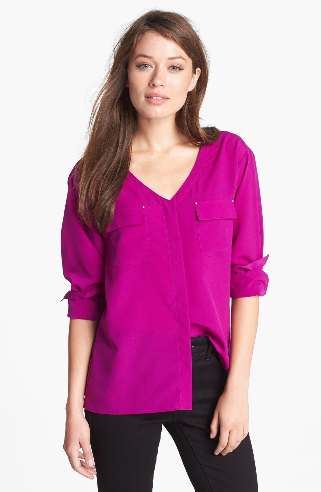 Alternate Image 1 Selected - Anne Klein V-Neck Shirt (Petite)
