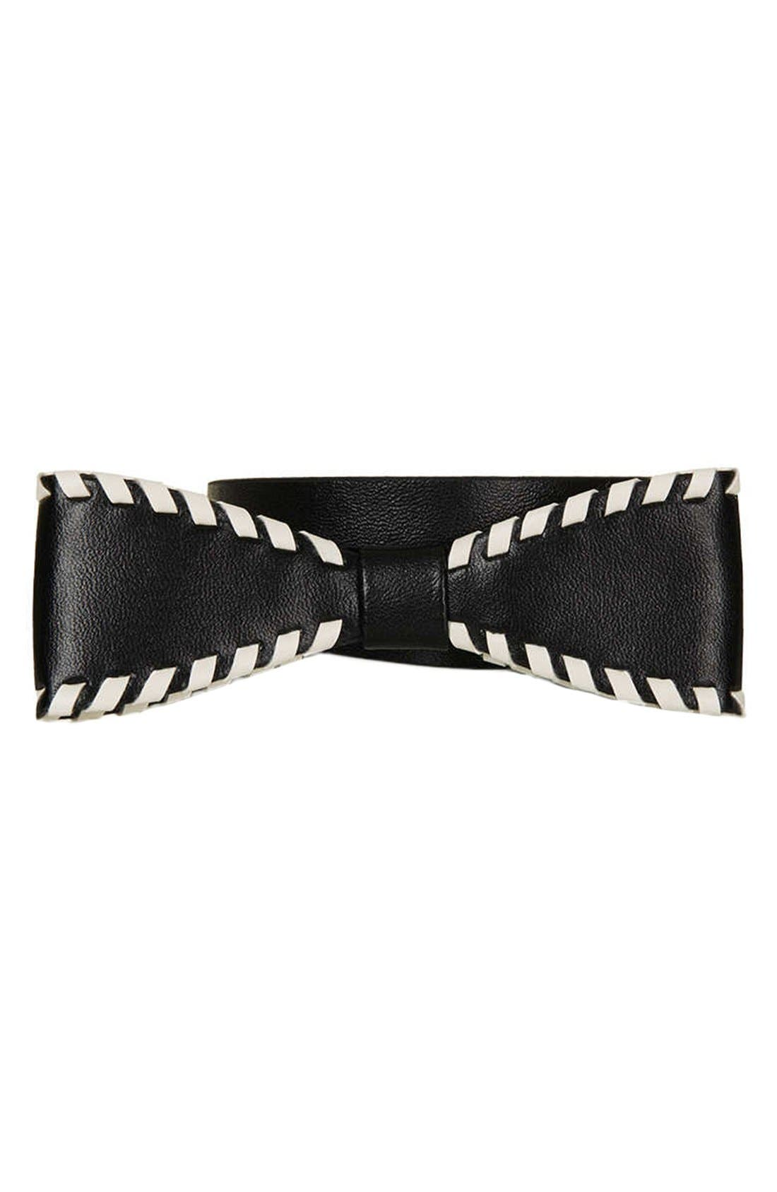 Main Image - Topshop Whipstitch Bow Belt