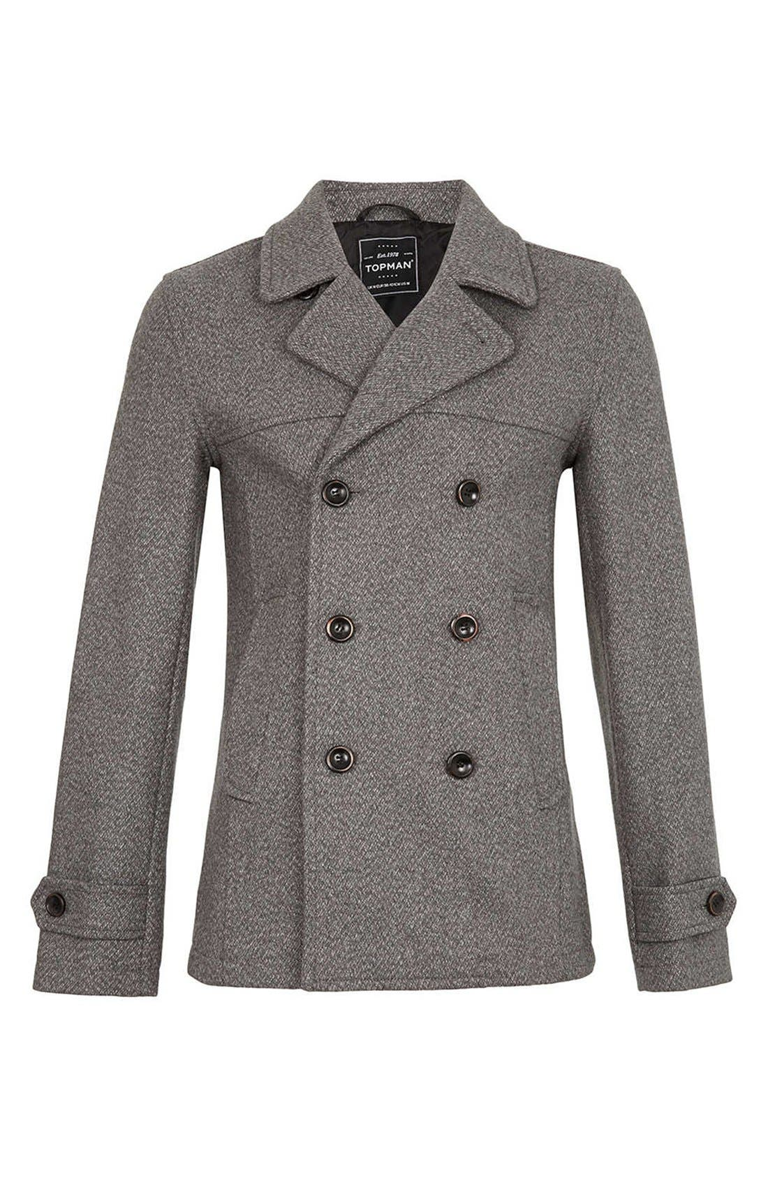 Main Image - Topman Skinny Fit Double Breasted Peacoat