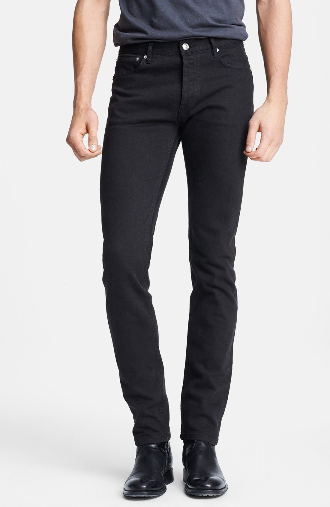 Alternate Image 1 Selected - A.P.C. 'Petit Standard' Skinny Fit Jeans (Black)