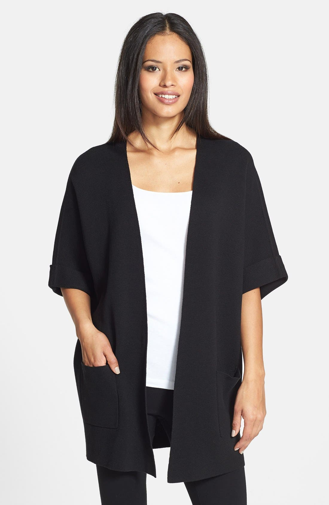 Alternate Image 1 Selected - Eileen Fisher Elbow Sleeve Long Jacket