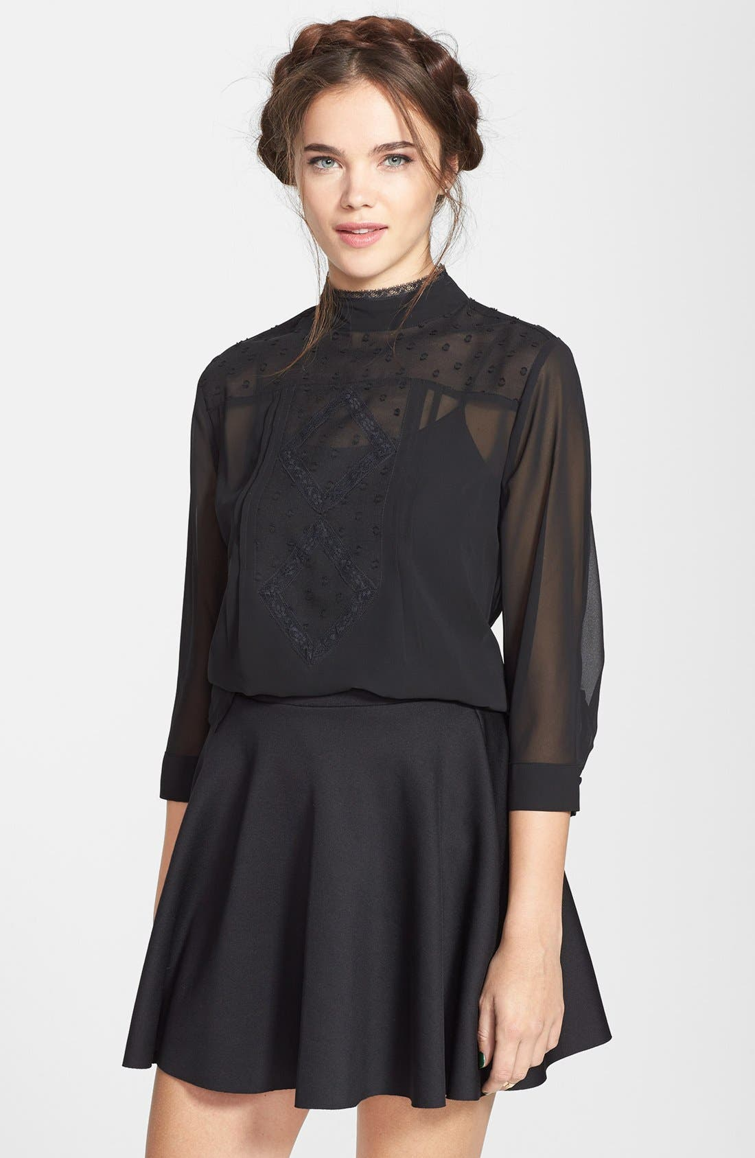 Alternate Image 1 Selected - Frenchi® Lace Detail Mock Neck Blouse (Juniors)