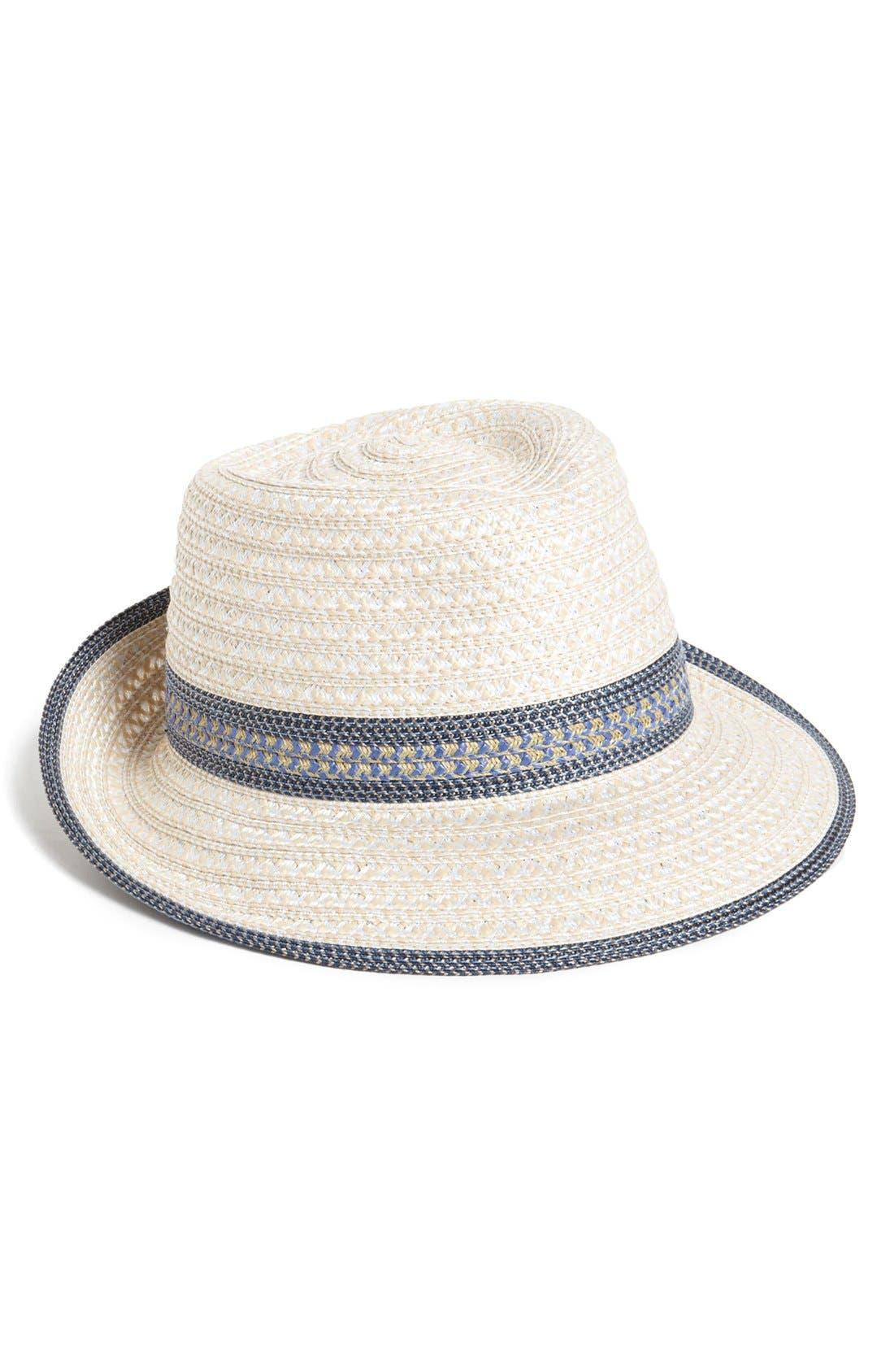 Squishee<sup>®</sup> Straw Fedora,                         Main,                         color, Cream/ Blue Tweed