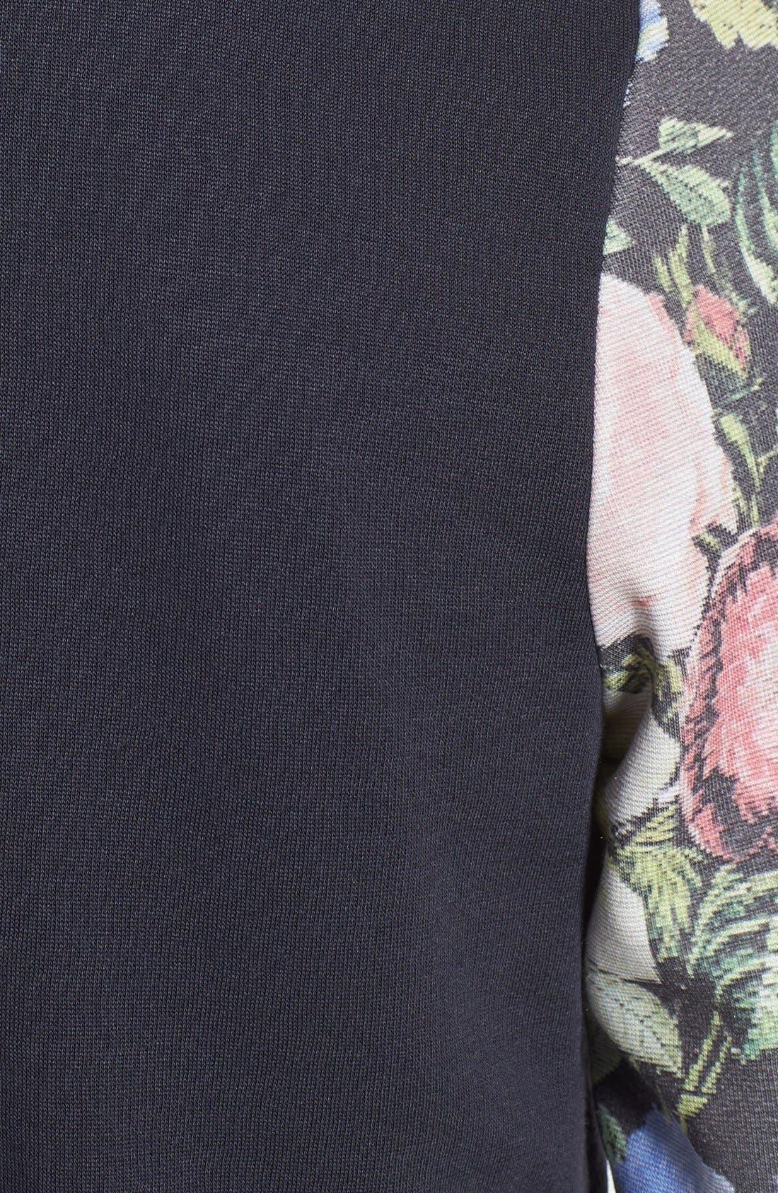 Alternate Image 3  - Topman Floral Sleeve Print Jersey Bomber Jacket