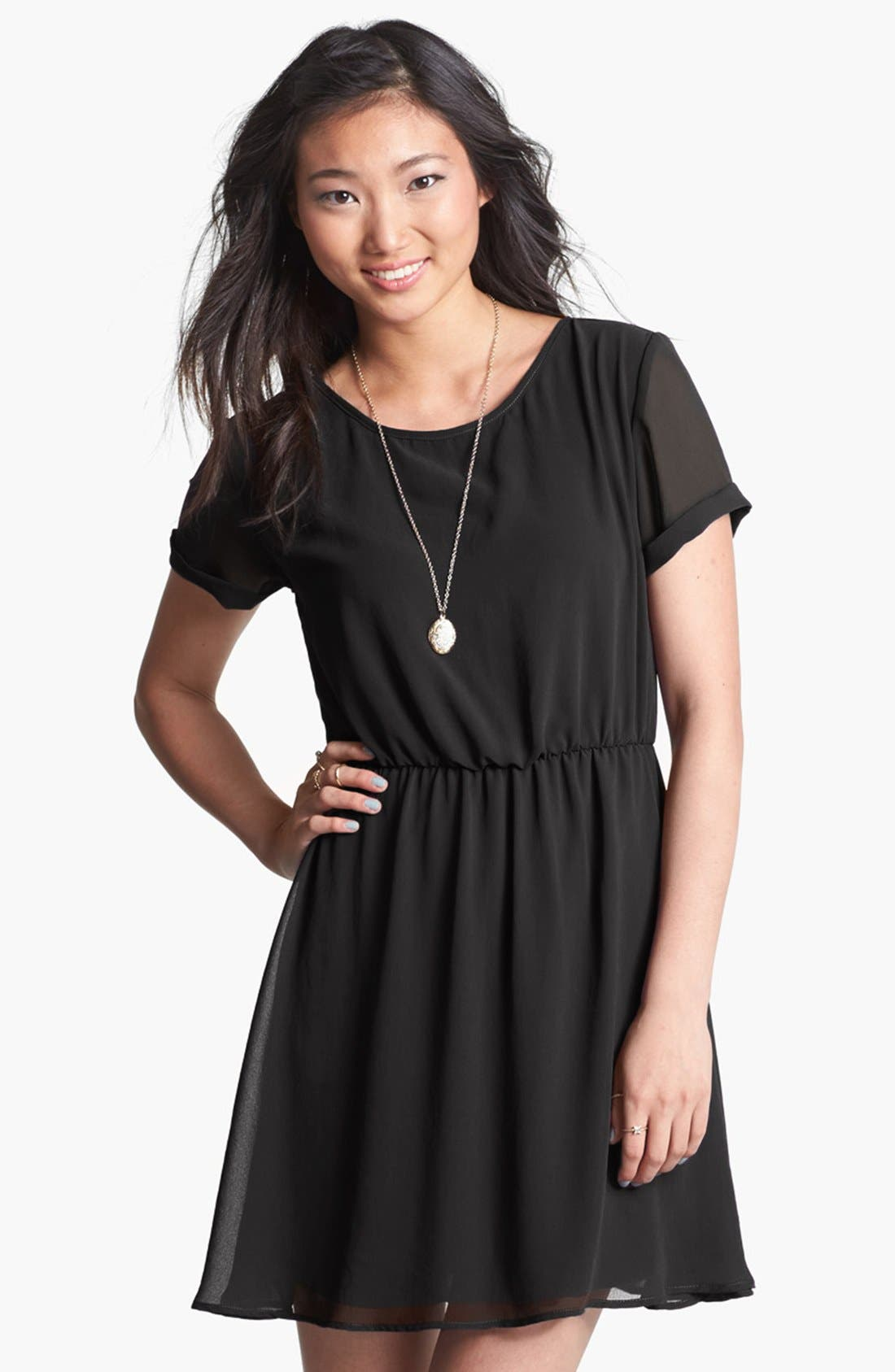 Main Image - dee elle 'Milly' Chiffon Skater Dress (Juniors)