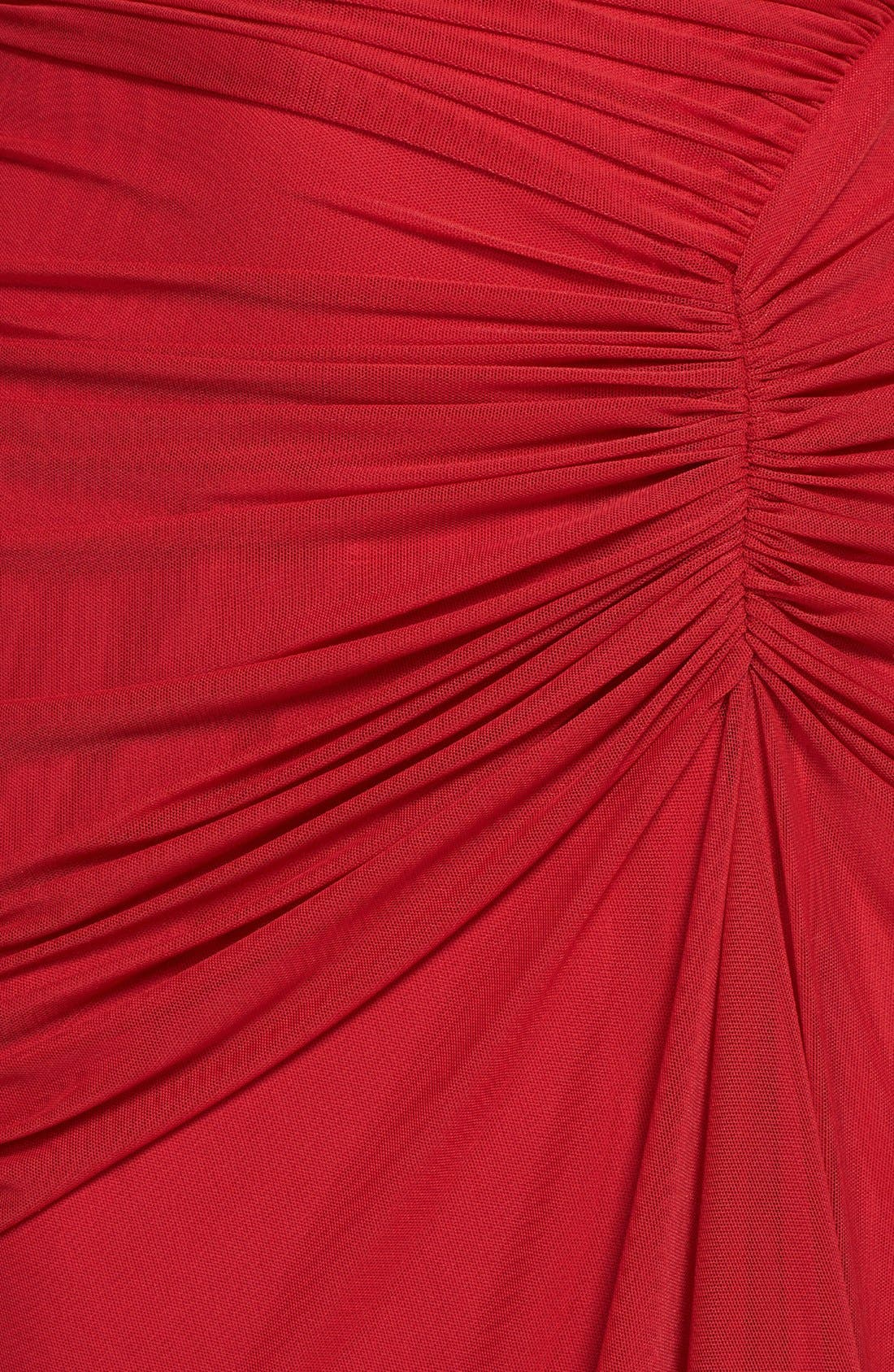 Alternate Image 4  - Tadashi Shoji Asymmetrical Ruched Mesh Dress