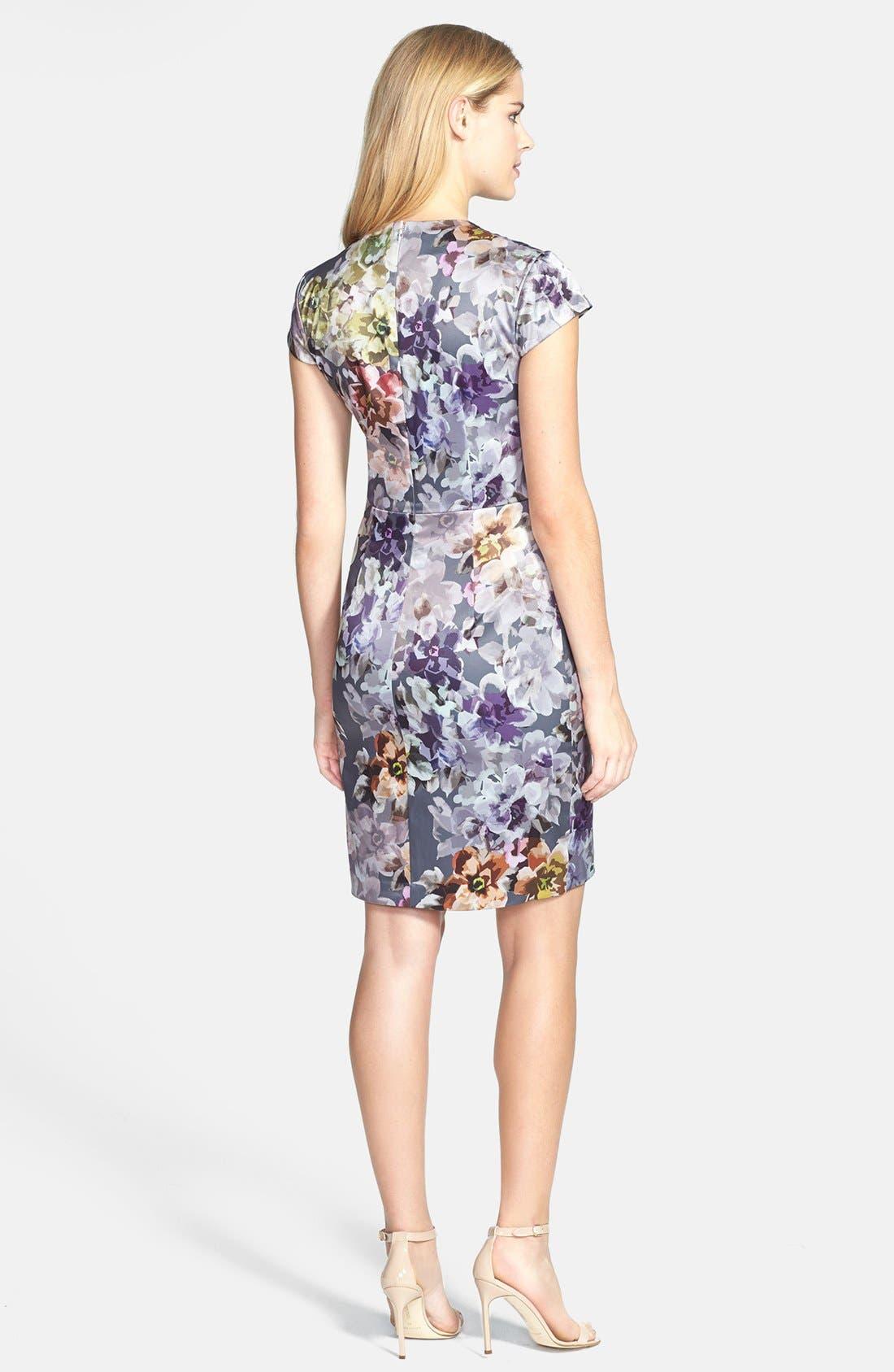 Alternate Image 3  - Ivy & Blu Print Side Pleat Sheath Dress