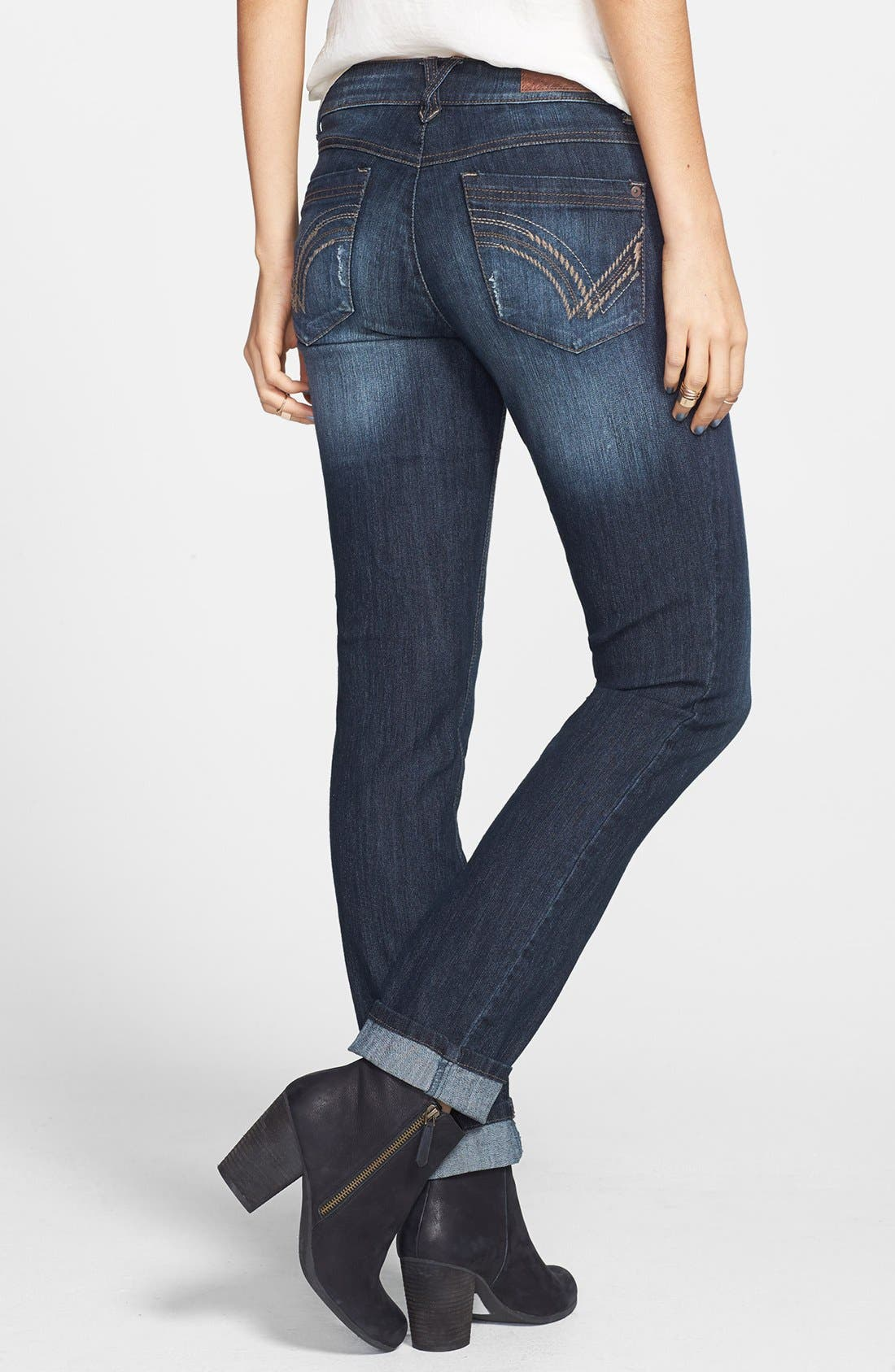 Alternate Image 1 Selected - Jolt Embroidered Pocket Skinny Jeans (Juniors)