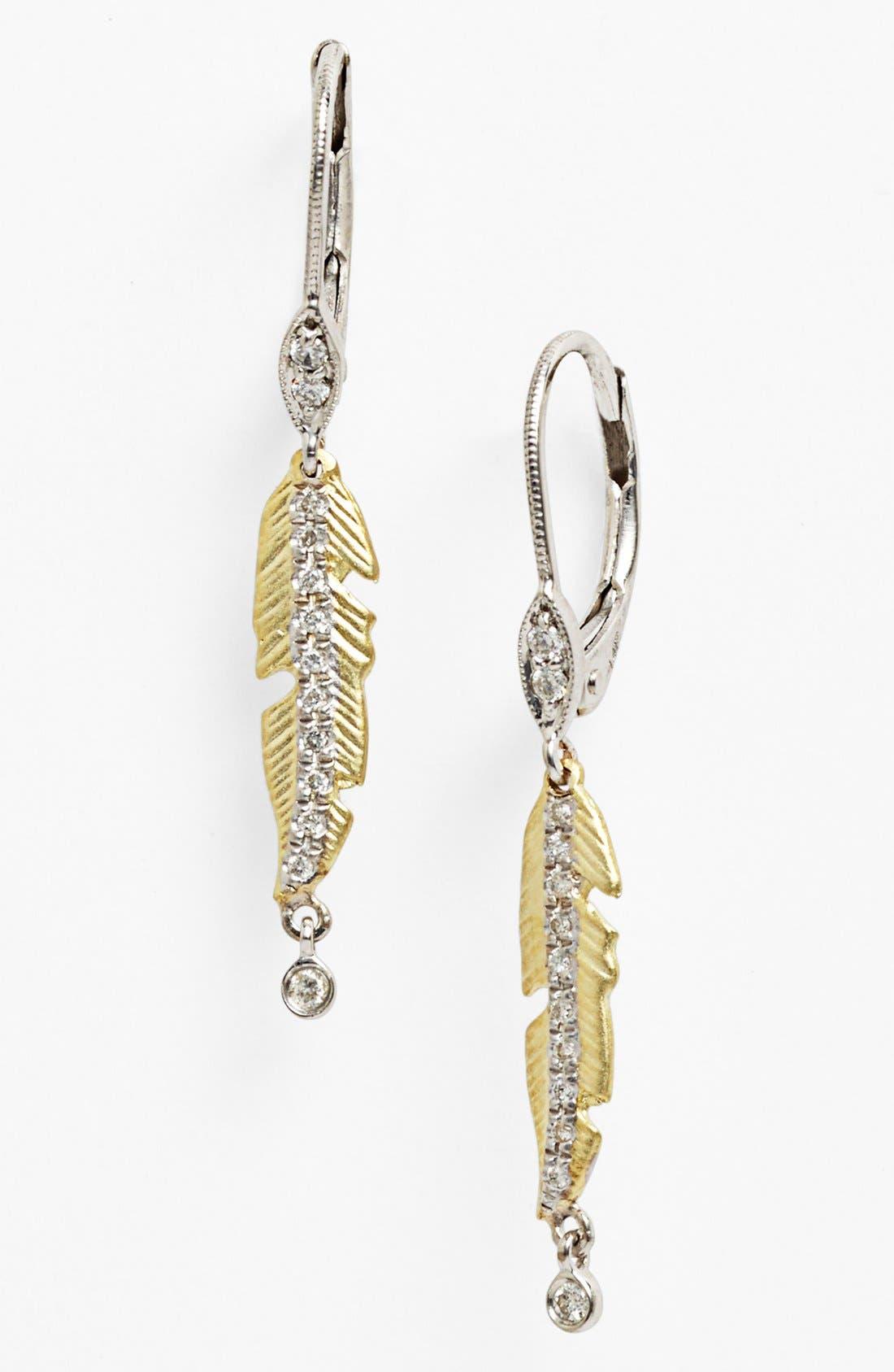 Alternate Image 1 Selected - MeiraT 'Charmed' Diamond Leaf Linear Earrings
