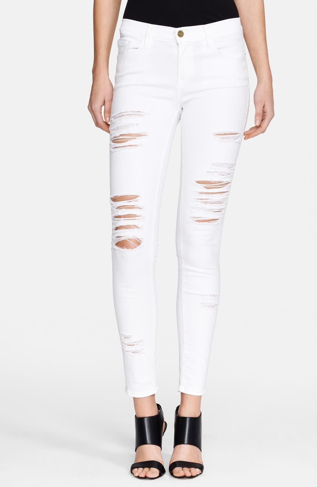 Alternate Image 1 Selected - FRAME Le Color Rip Skinny Jeans (Film Noir)