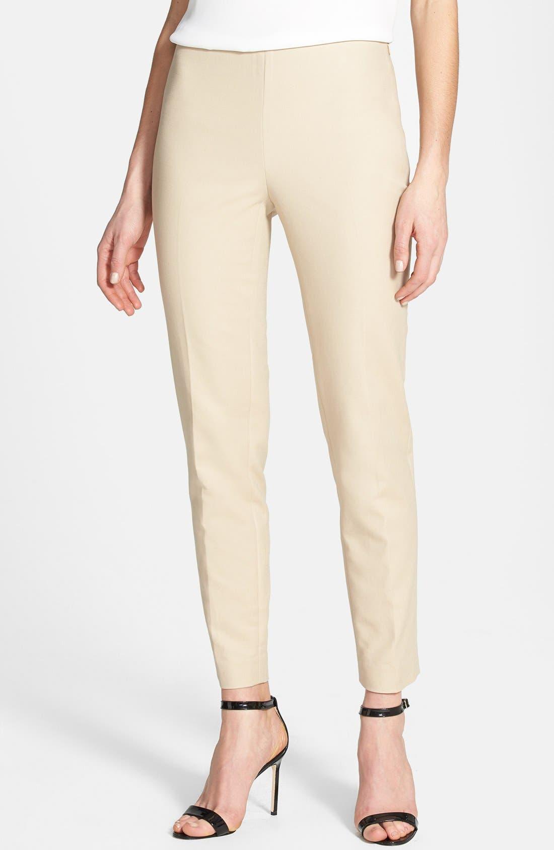 Side Zip Double Weave Pants,                             Main thumbnail 1, color,                             Tiramisu