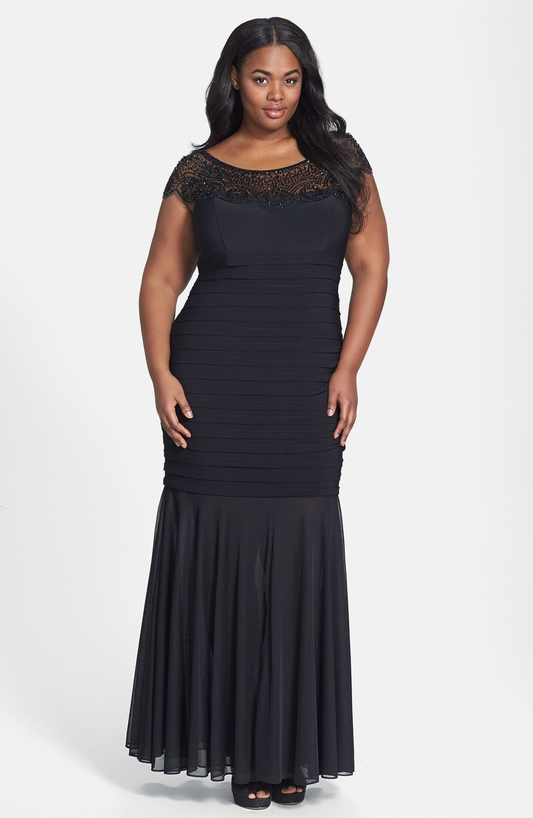 Main Image - Xscape Beaded Yoke Chiffon Gown (Plus Size)