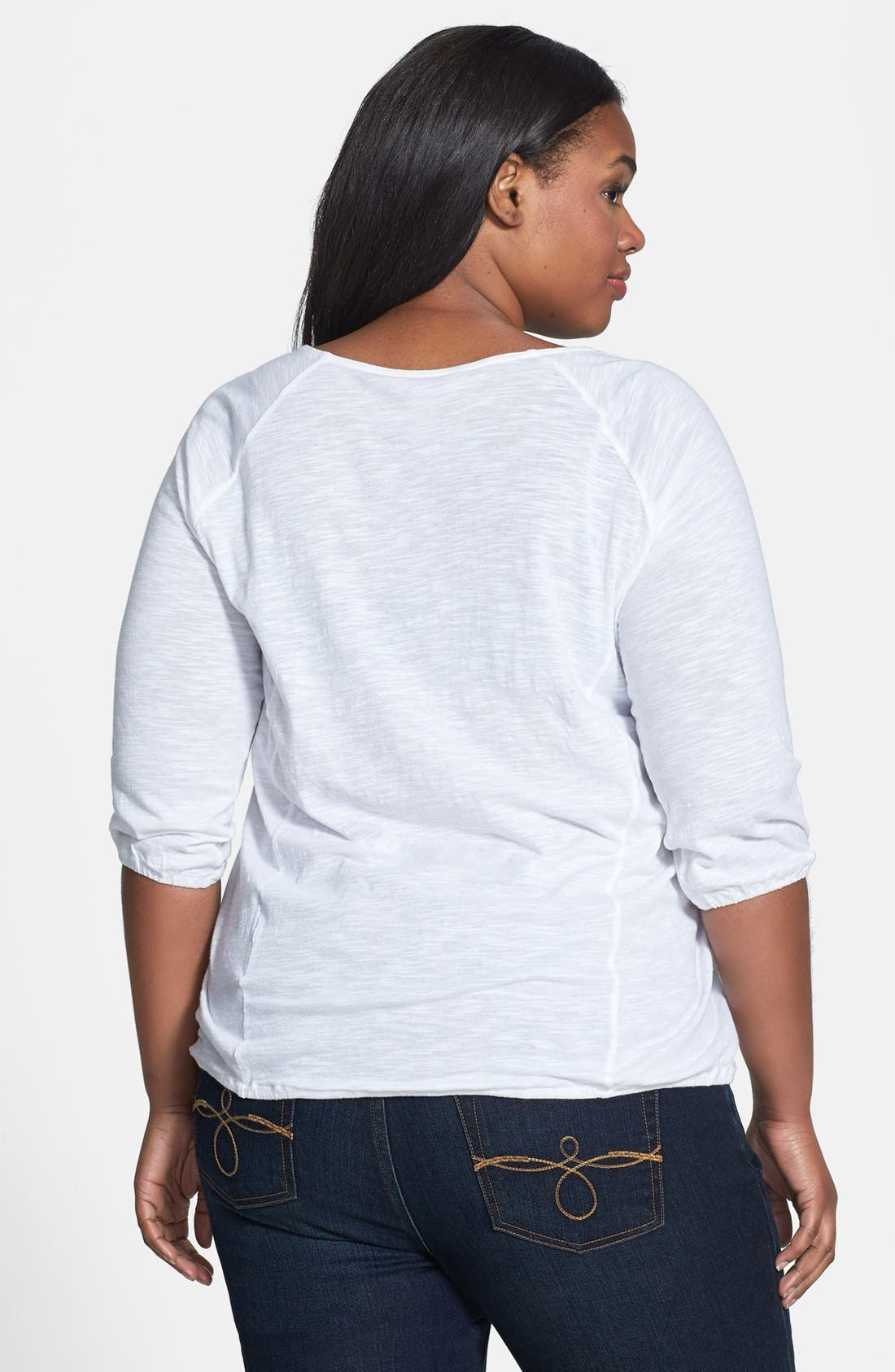 Alternate Image 2  - Lucky Brand Schiffli Front Raglan Sleeve Top (Plus Size)