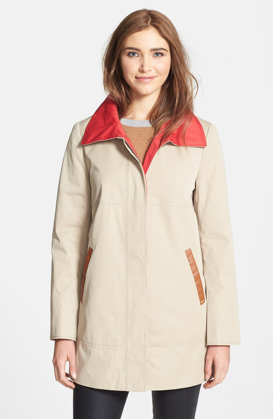 Main Image - Ellen Tracy Contrast Lined A-Line Raincoat (Online Only)