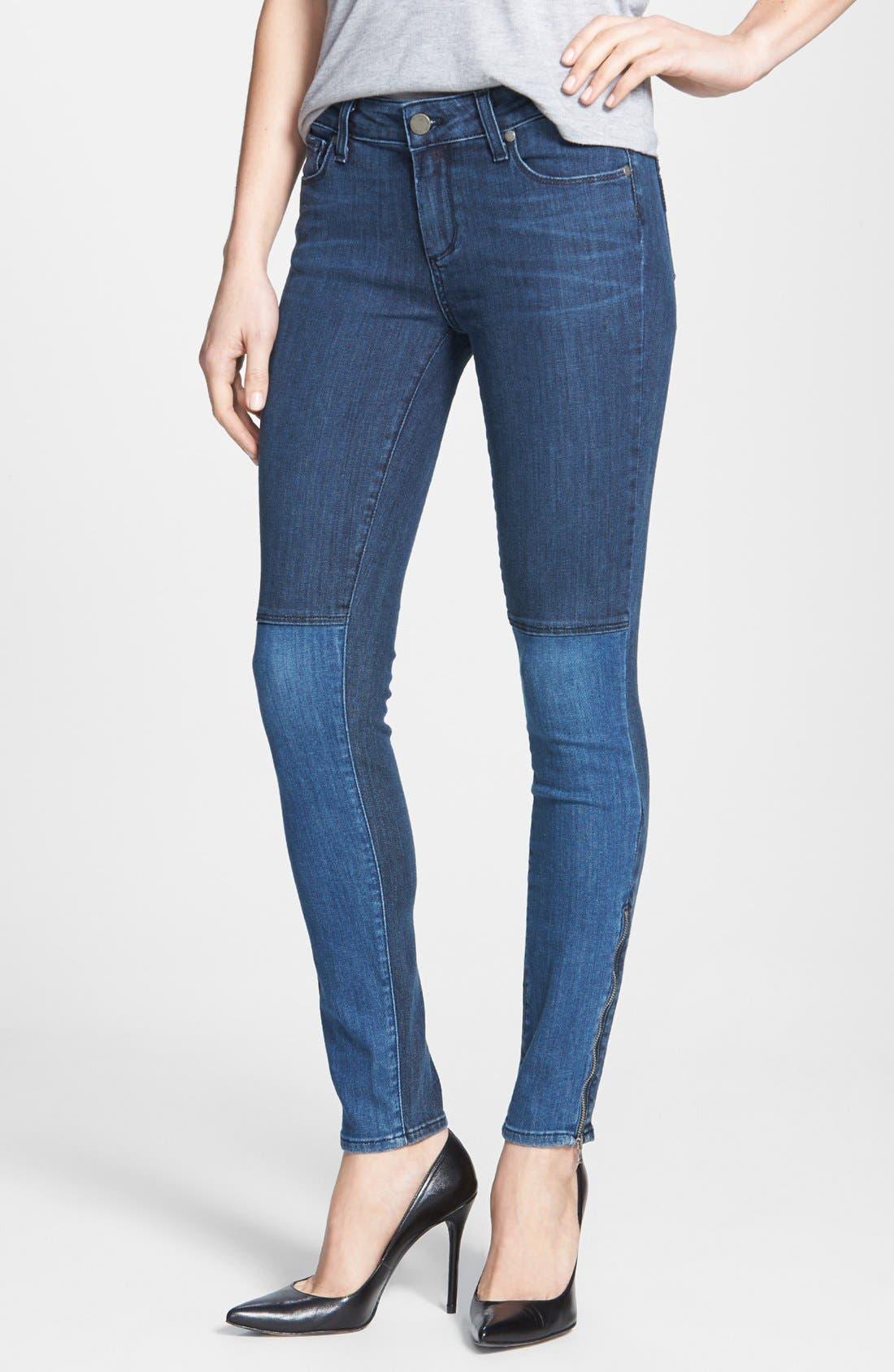 Alternate Image 1 Selected - Paige Denim 'Cara' Patchwork Ultra Skinny Jeans (Coastal)