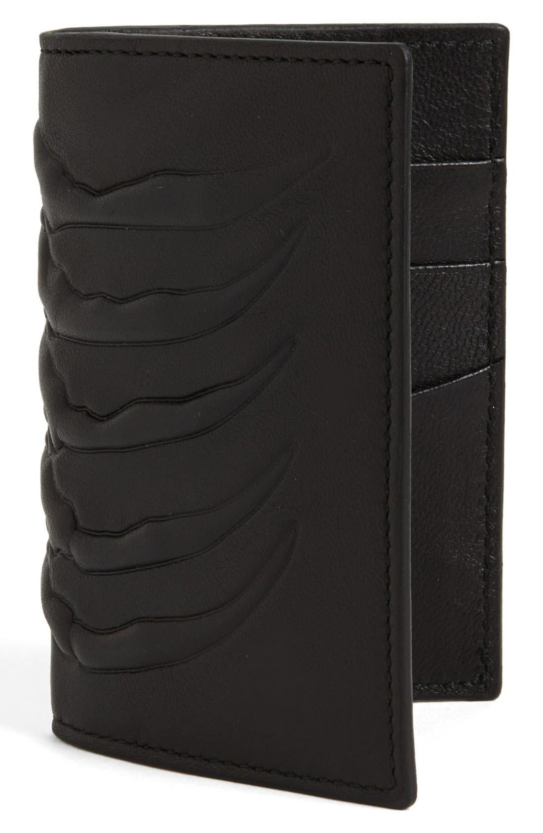 Alternate Image 1 Selected - Alexander McQueen Rib Cage Leather Card Holder