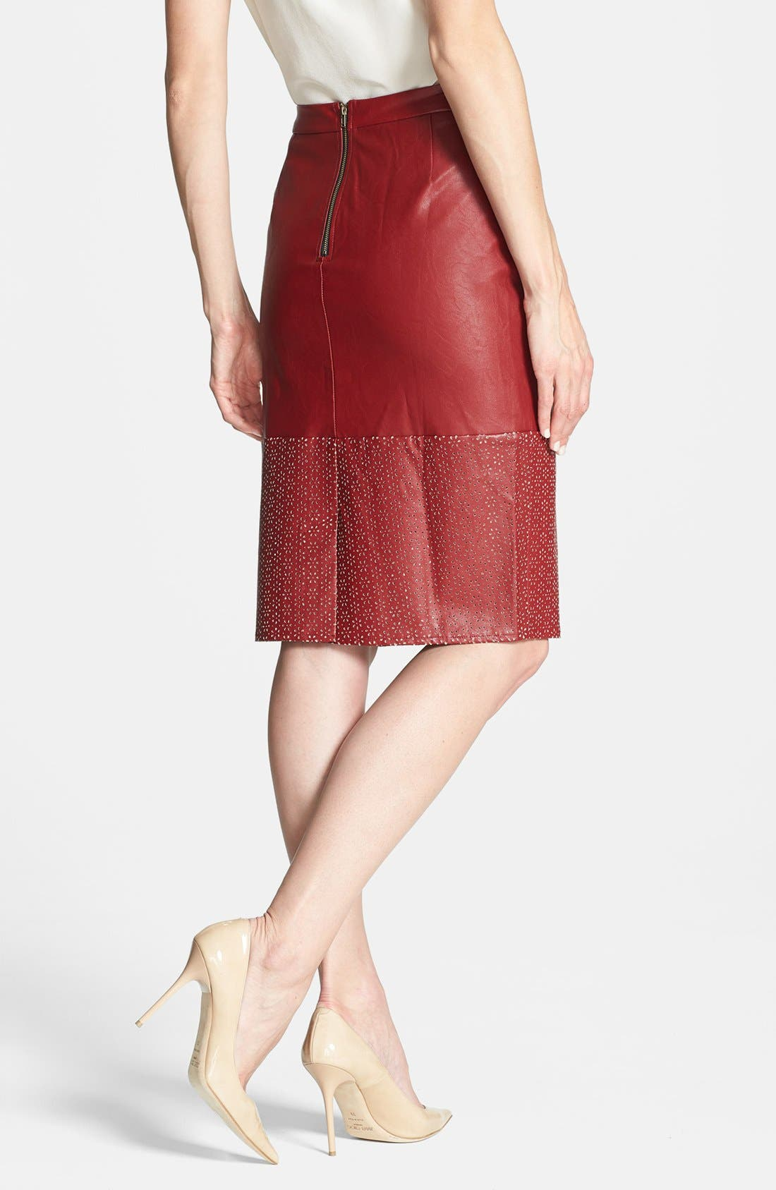Alternate Image 2  - Sunday in Brooklyn Perforated Faux Leather Skirt
