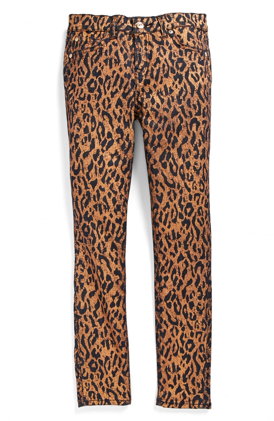Alternate Image 2  - 7 For All Mankind® 'The Skinny' Cheetah Print Skinny Jeans (Big Girls)
