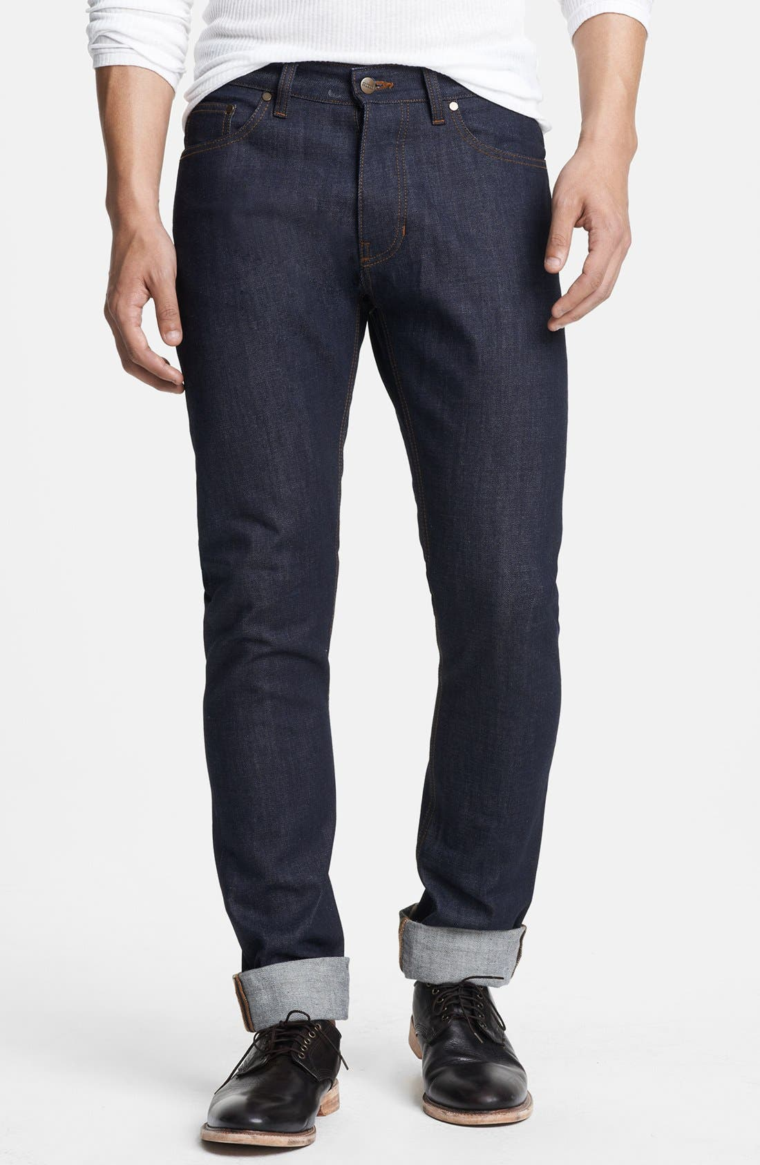 Main Image - AMI Alexandre Mattiussi Straight Leg Raw Selvedge Jeans with Floral Cuff Trim (Indigo)