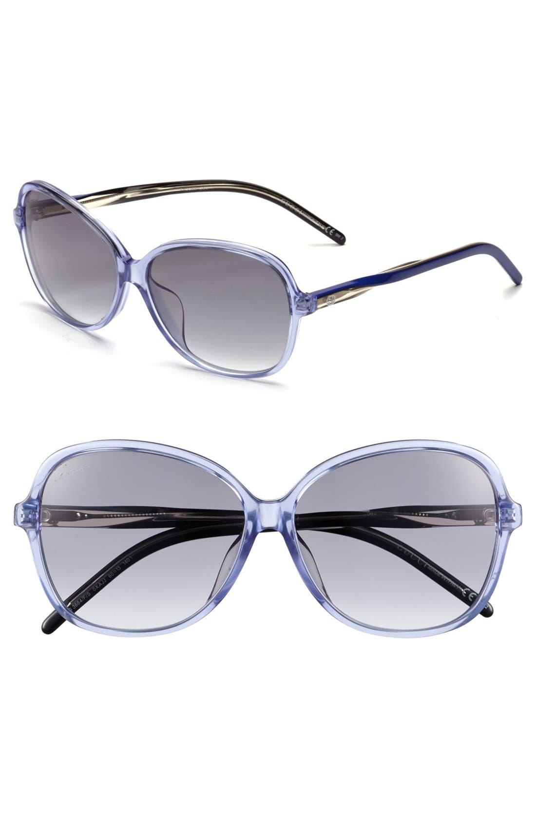 Alternate Image 1 Selected - Gucci 60mm Special Fit Sunglasses