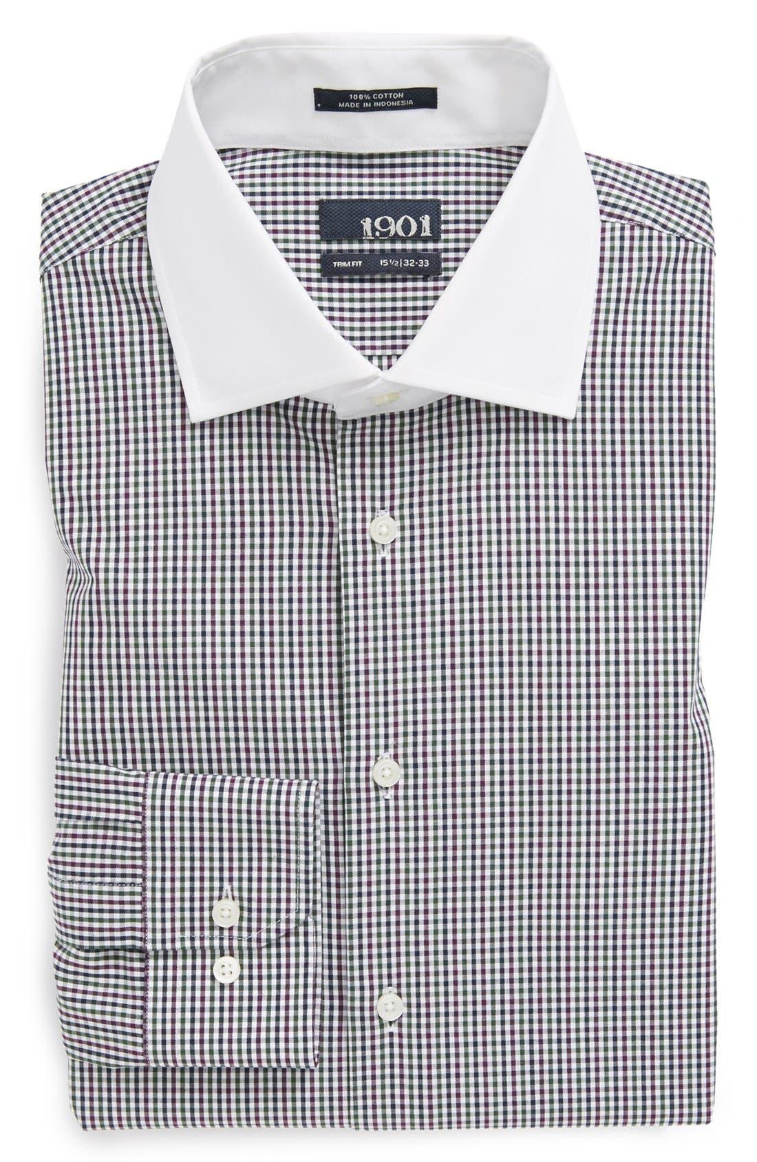 Alternate Image 1 Selected - 1901 Trim Fit Gingham Dress Shirt