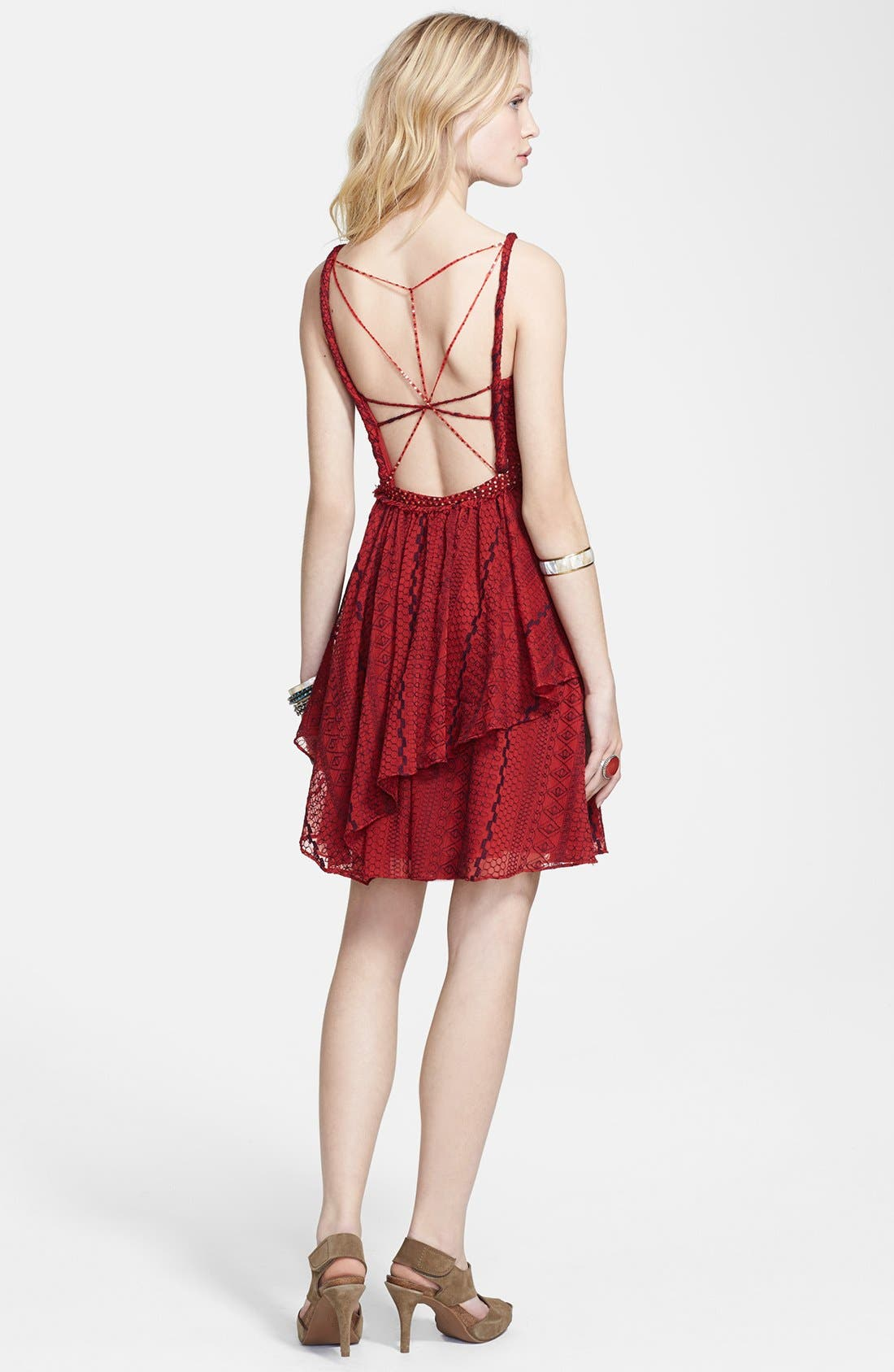 Alternate Image 2  - Free People 'Leia' Embroidered Chiffon Fit & Flare Dress