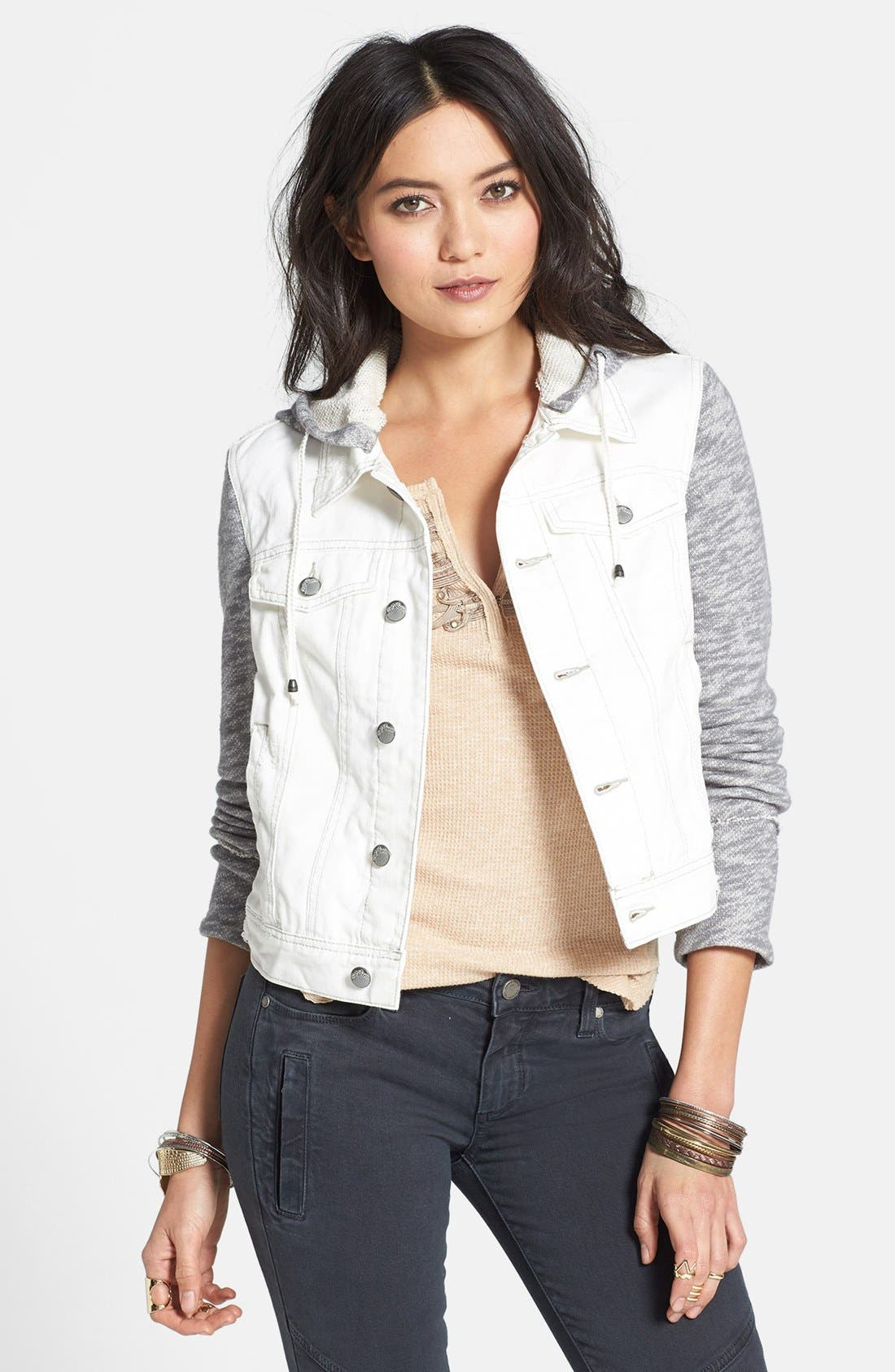Knit Sleeve Distressed Denim Jacket,                         Main,                         color, Ivory Combo