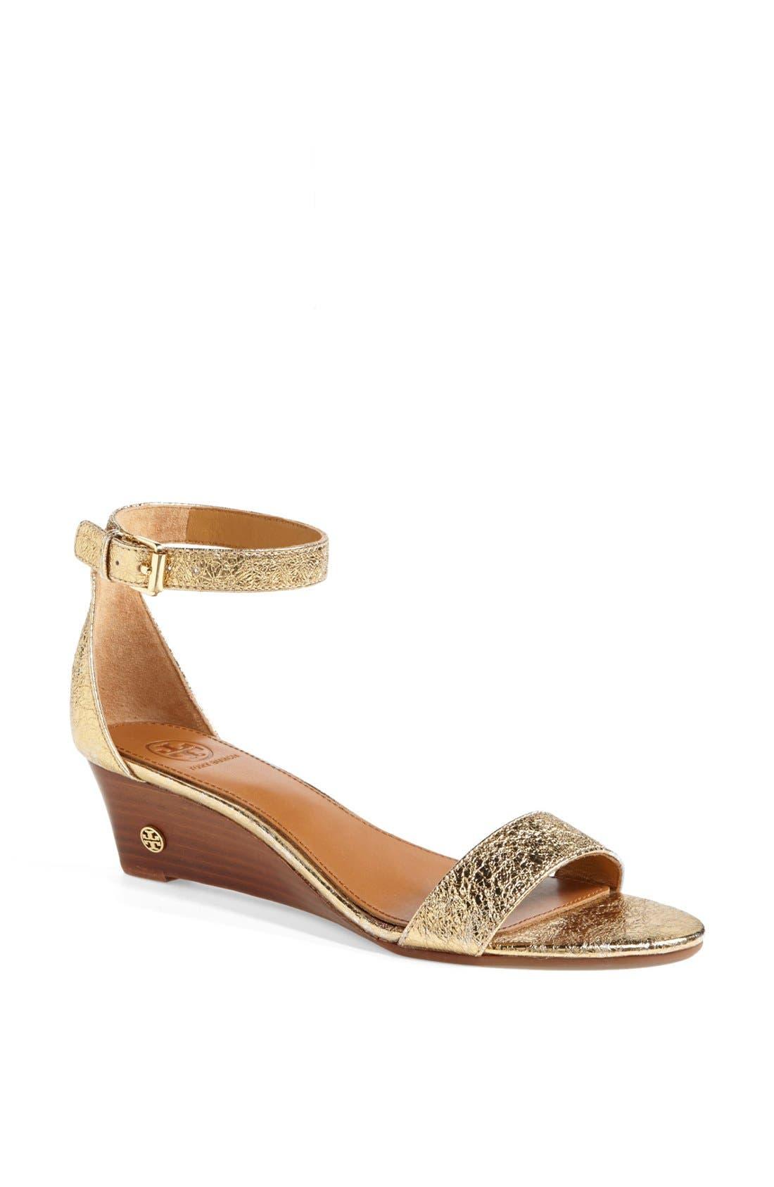 'Savannah' Wedge Sandal,                             Main thumbnail 1, color,                             Gold