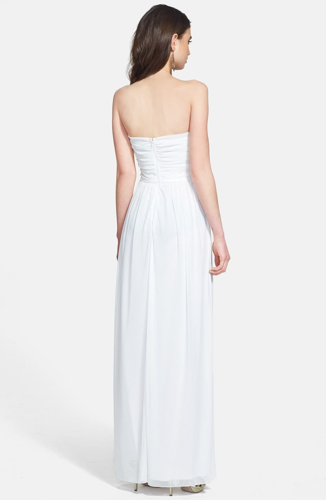 Alternate Image 2  - Way-In Embellished Waist Strapless Mesh Gown (Juniors)