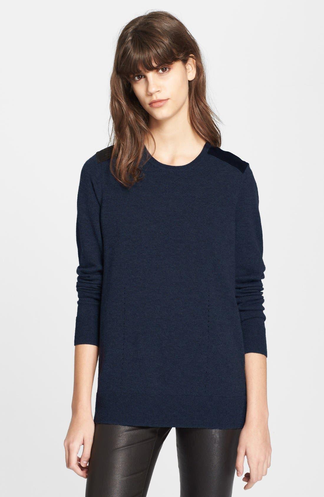 Alternate Image 1 Selected - rag & bone 'Maribel' Suede Shoulder Sweater