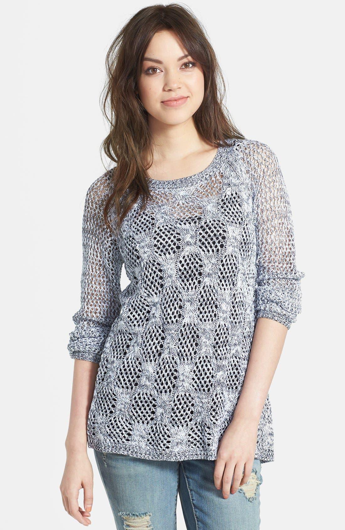 Alternate Image 1 Selected - Jessica Simpson 'Lars' Wrap Back Mix Stitch Sweater