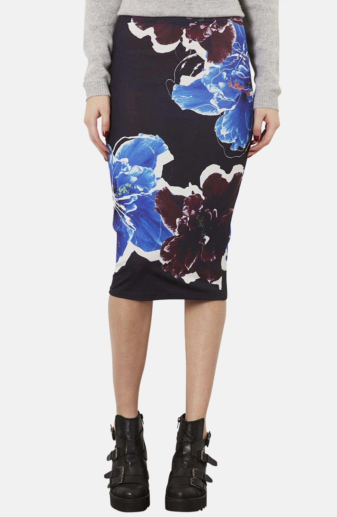 Alternate Image 1 Selected - Topshop Floral Print Tube Skirt