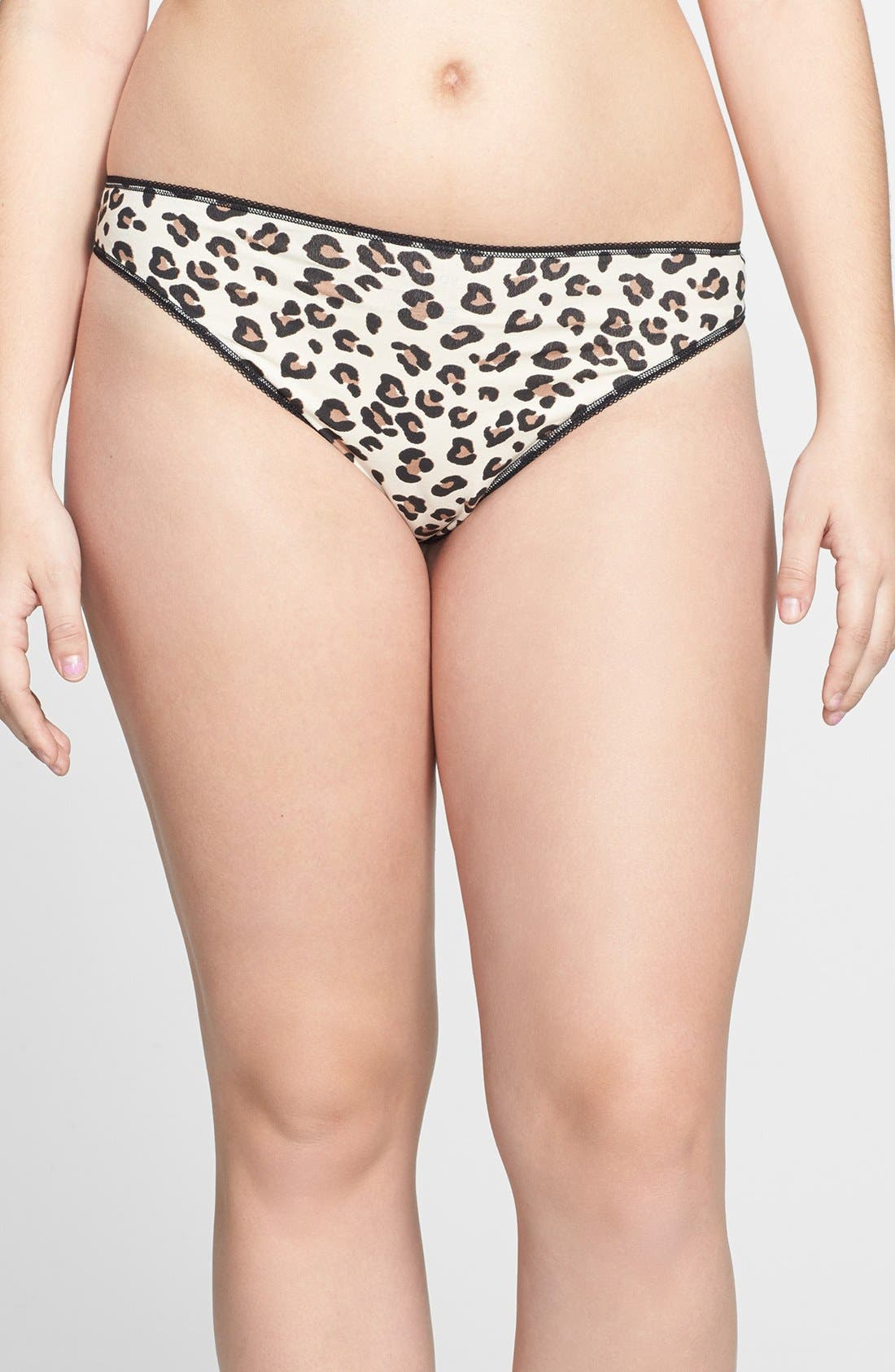 Alternate Image 1 Selected - Nordstrom Cotton Blend Thong (Plus Size) (3 for $25)