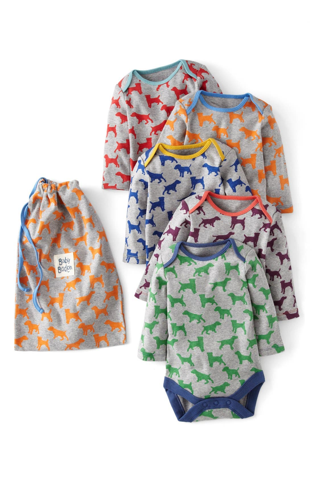 Main Image - Mini Boden Bodysuit (5-Pack) (Baby)