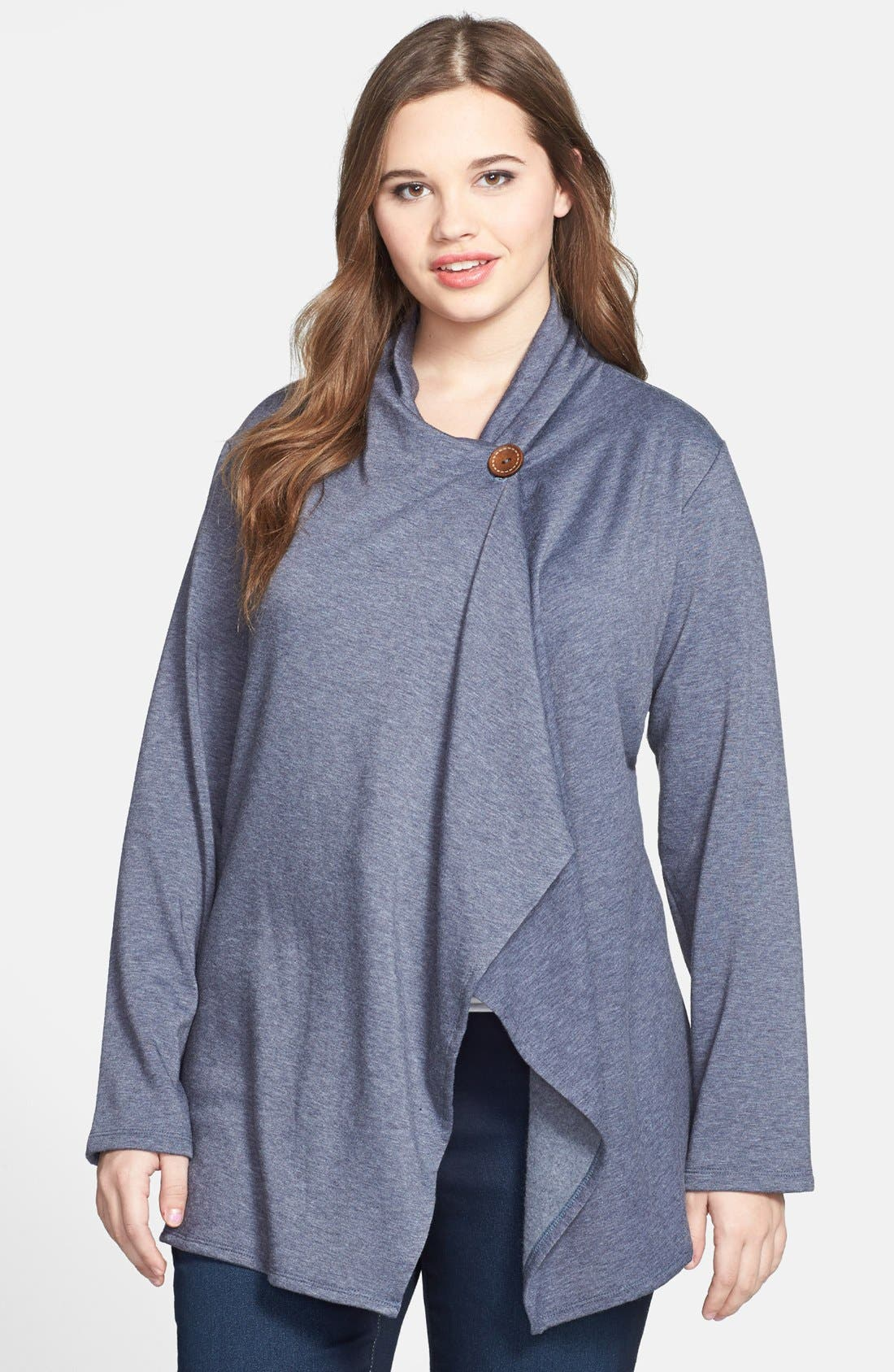 Alternate Image 1 Selected - Bobeau One-Button Fleece Cardigan (Plus Size)