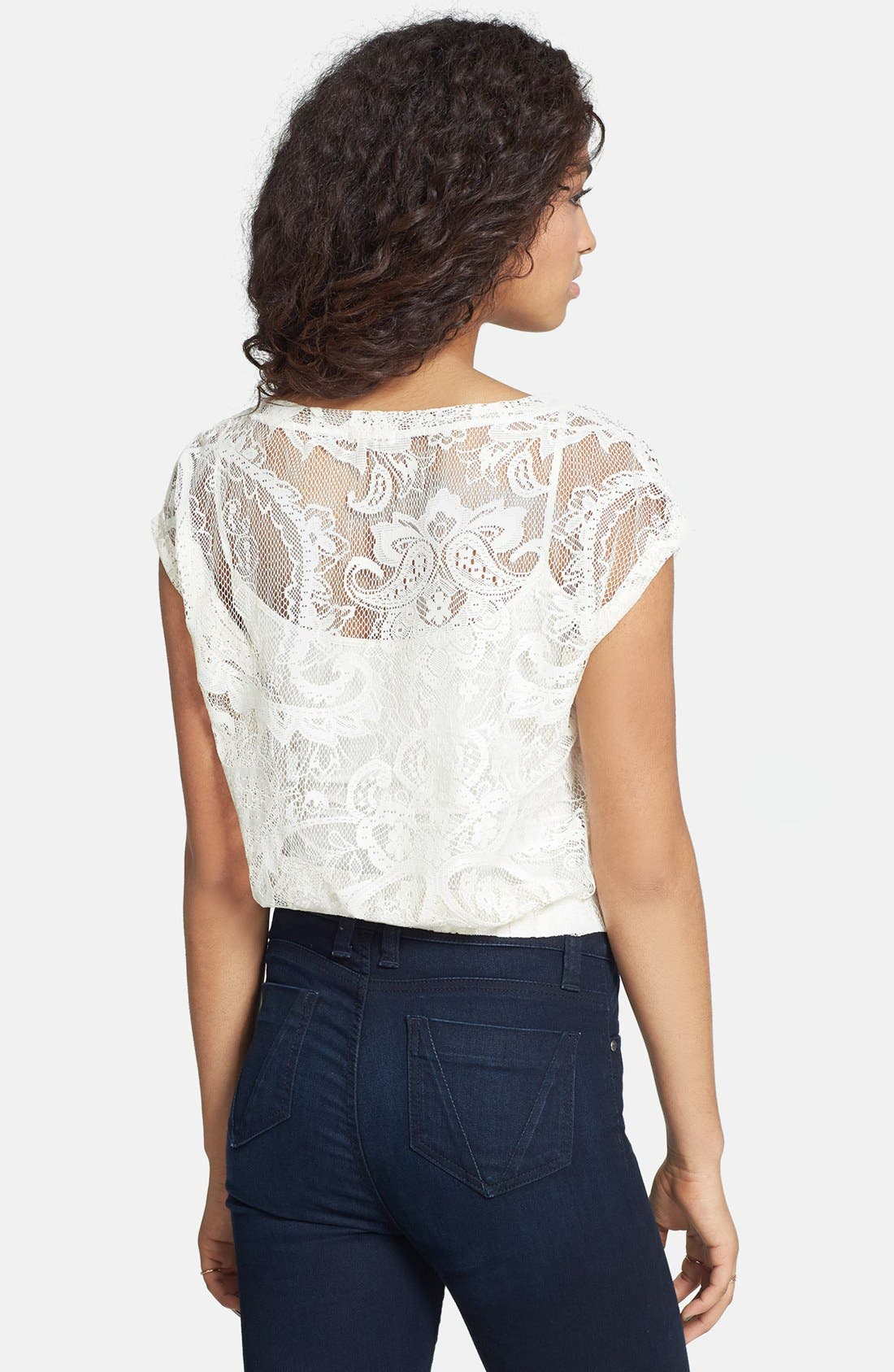 Alternate Image 2  - Love on a Hanger Lace Crop Top (Juniors)