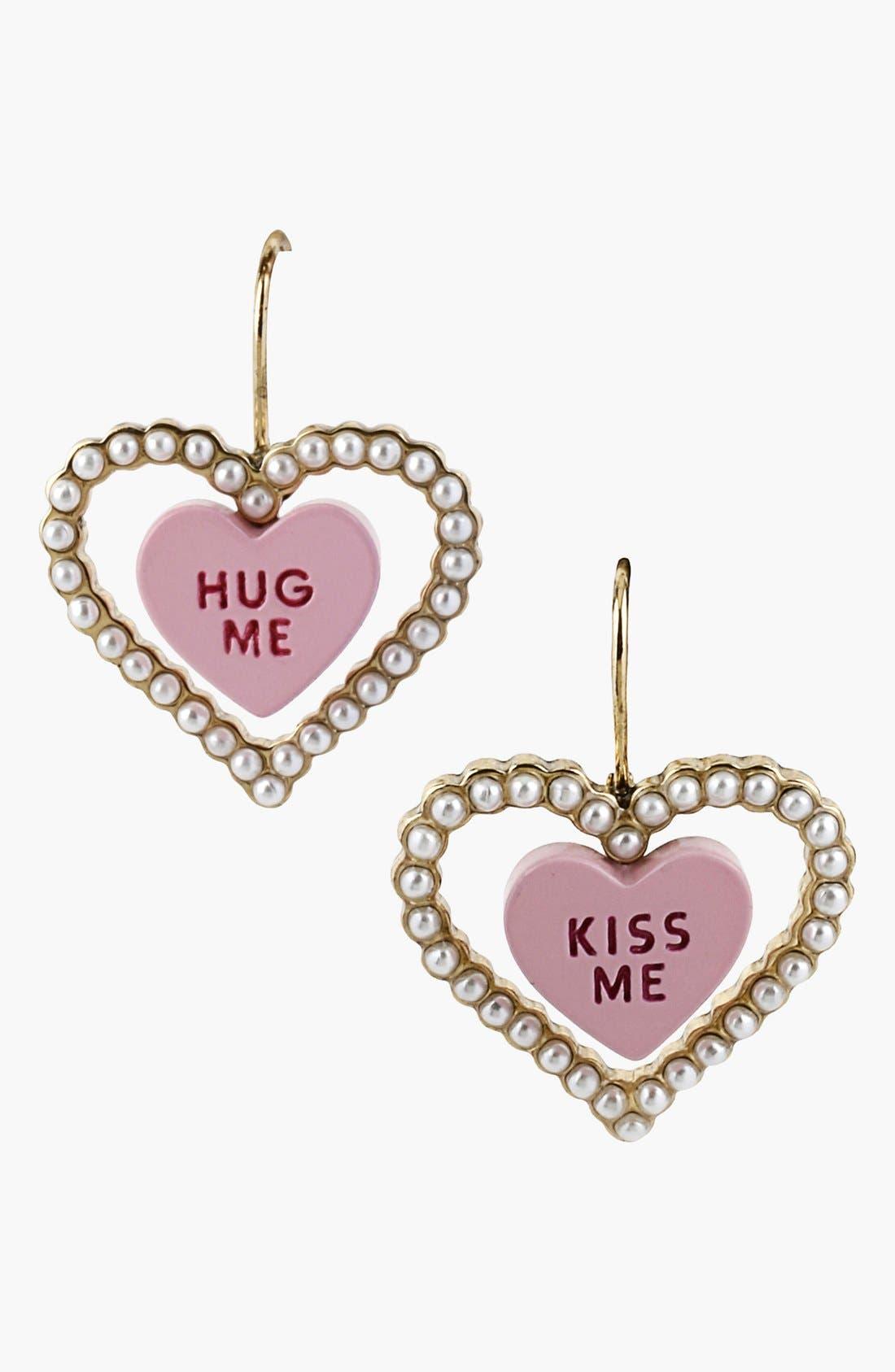 Alternate Image 1 Selected - Betsey Johnson 'Vintage Bow - Kiss Me' Double Heart Earrings
