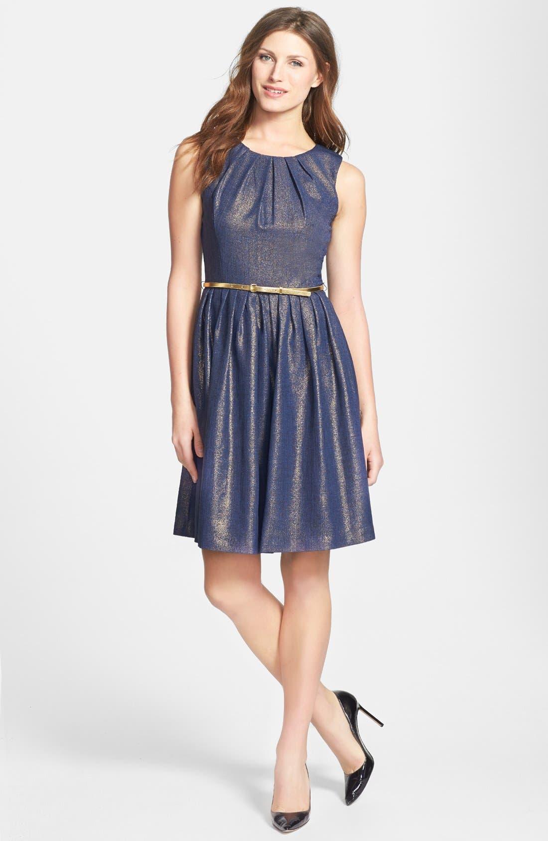 Alternate Image 2  - Ellen Tracy Metallic Sleeveless Dress (Regular & Petite)