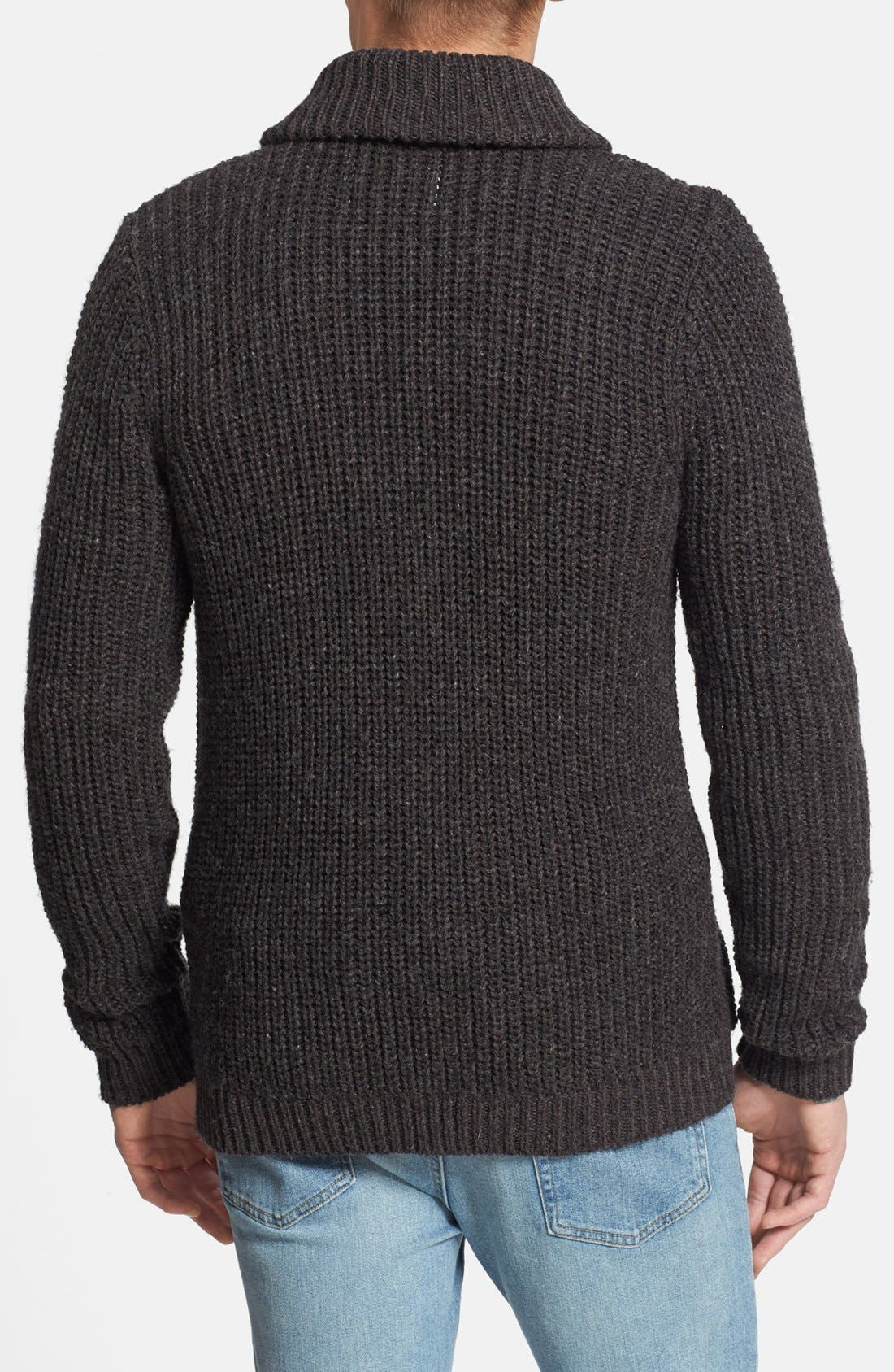 Alternate Image 2  - Topman Ribbed Shawl Collar Cardigan